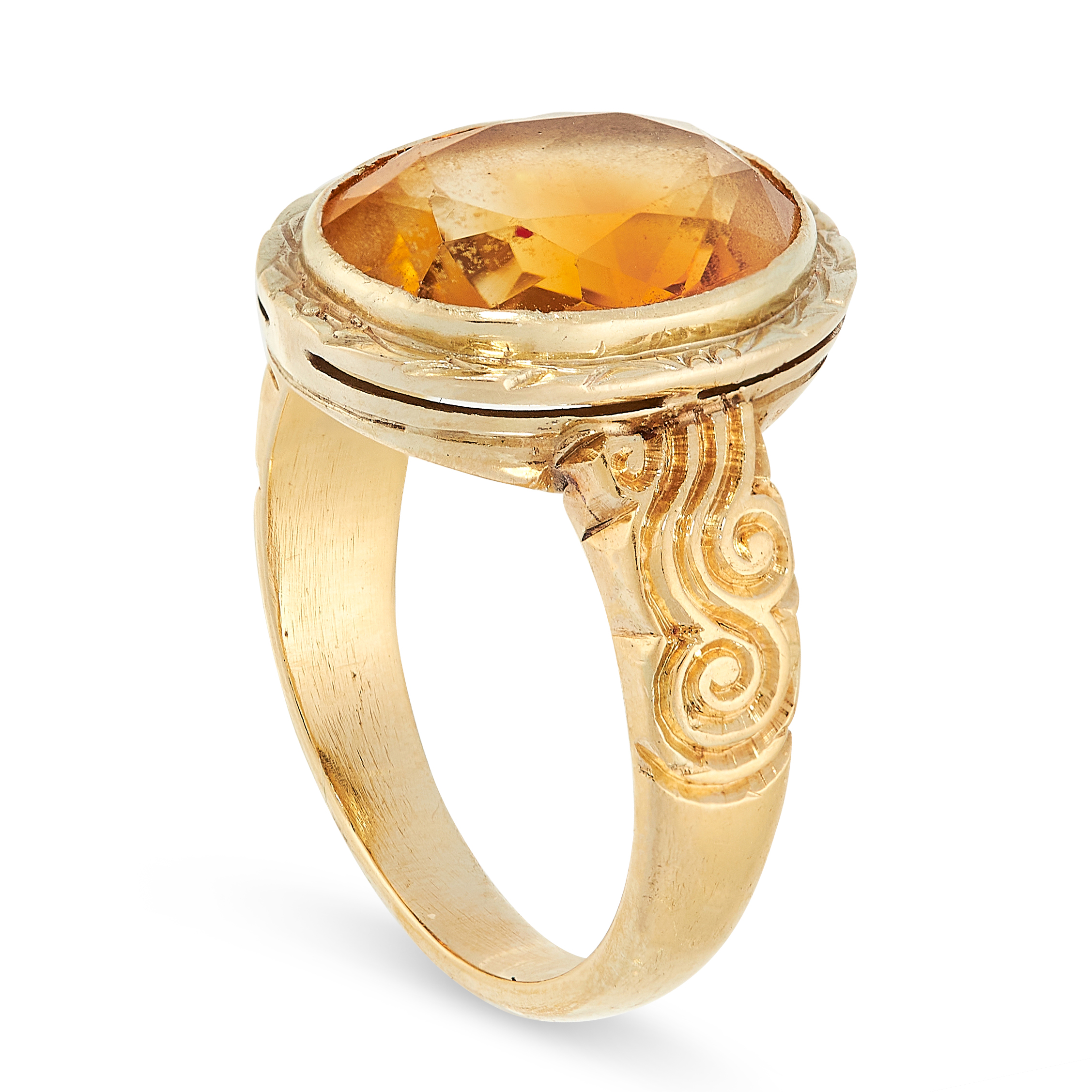VINTAGE CITRINE EARRINGS AND RING SUITE each set an oval cut citrine within gold border, citrines - Image 3 of 3