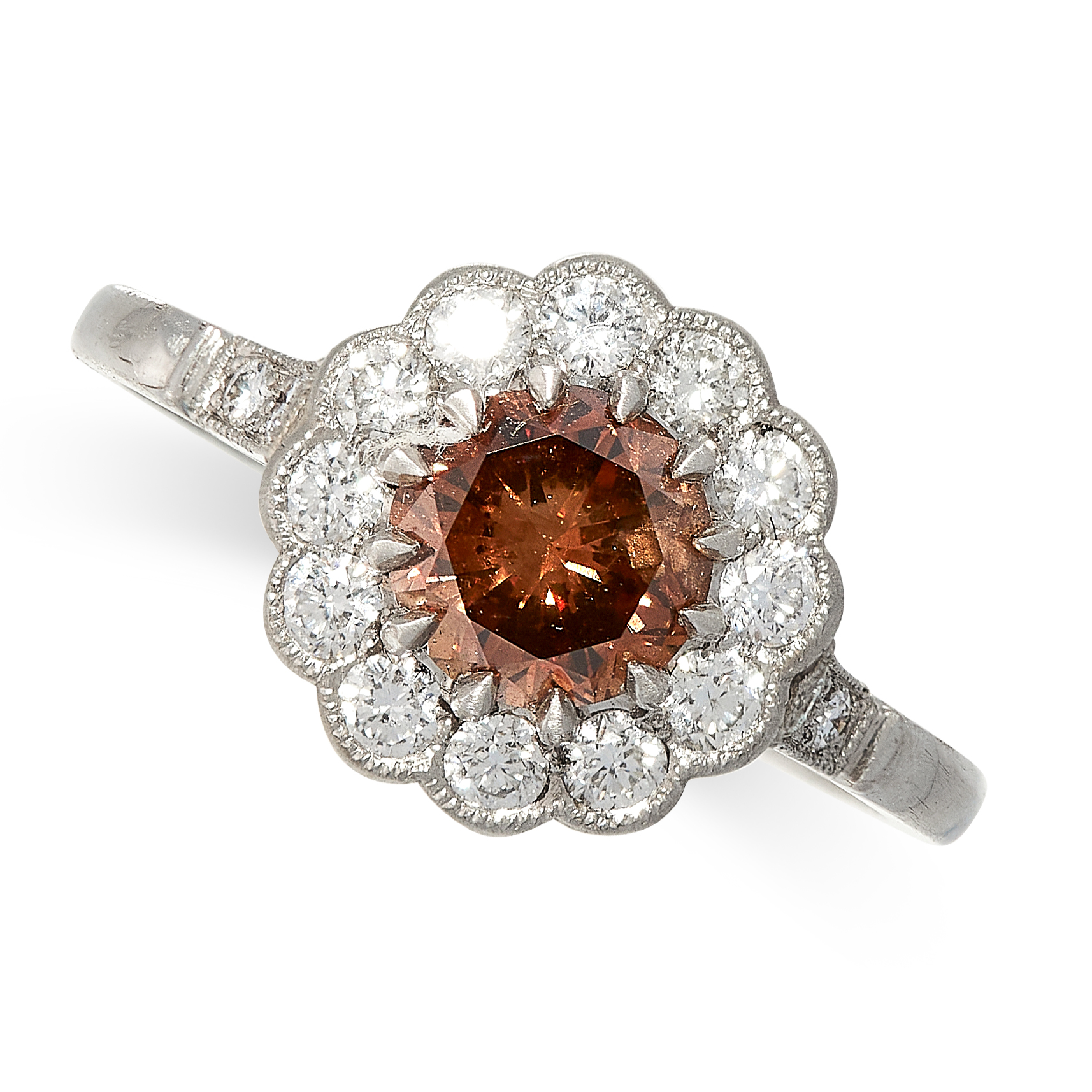 BROWN DIAMOND CLUSTER RING comprising of a round cut brown diamond of 1.00 carats in a border of