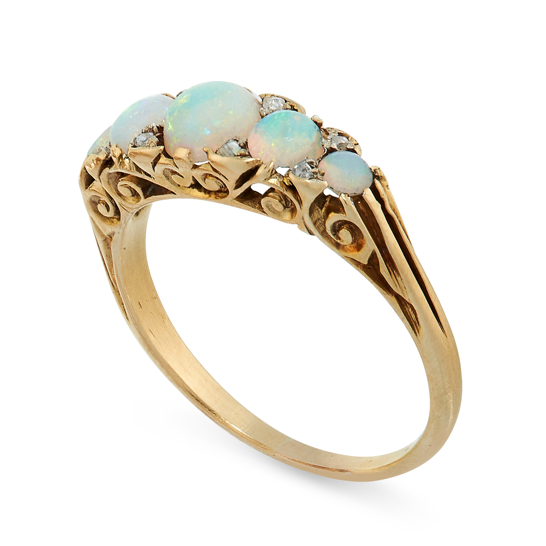ANTIQUE OPAL AND DIAMOND RING in yellow gold, comprising of five cabochon opals accented by rose cut - Image 2 of 2