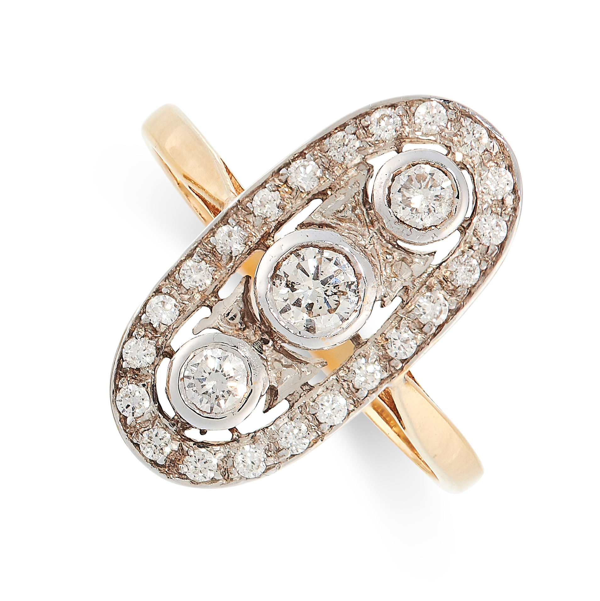 DIAMOND DRESS RING in 18ct yellow gold, set with three principle diamonds totalling 0.24 carats in