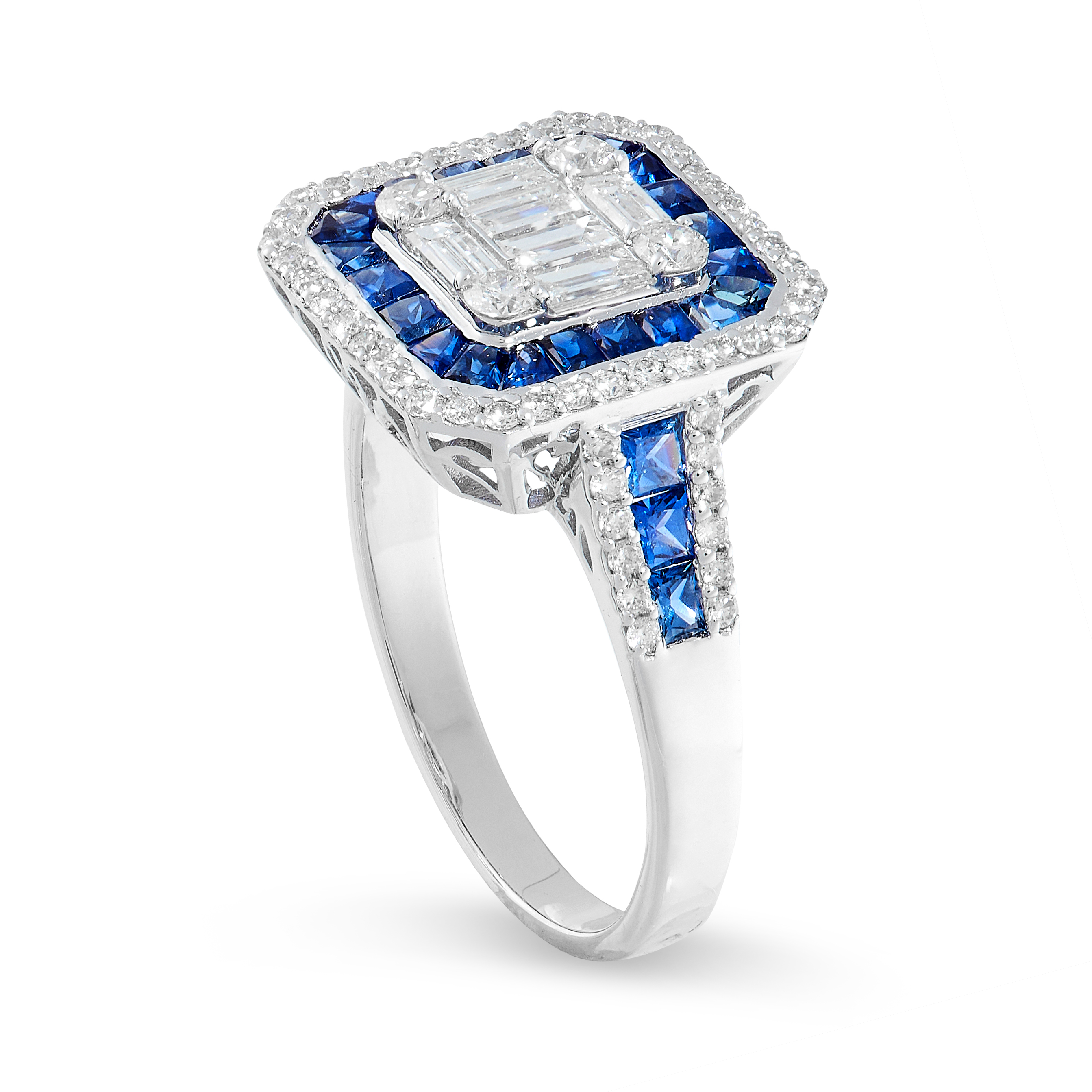 SAPPHIRE AND DIAMOND RING the central cluster composed of baguette and brilliant-cut diamonds,