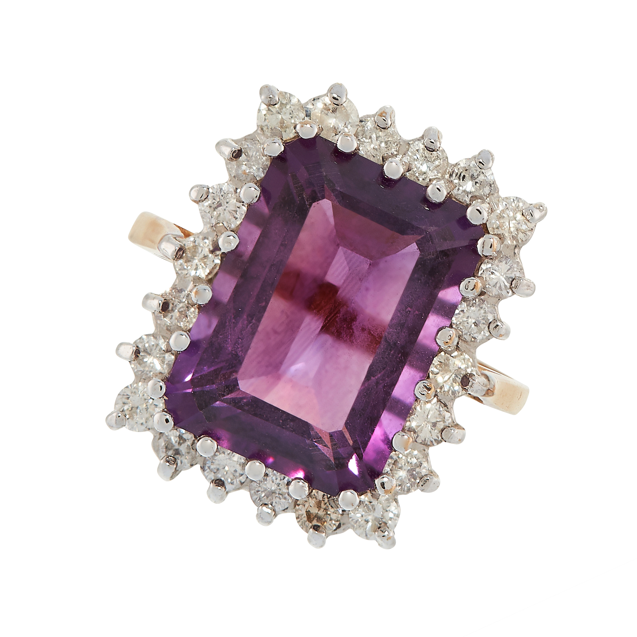 AMETHYST AND DIAMOND RING in yellow gold, comprising of an emerald cut amethyst of 6.82 carats in