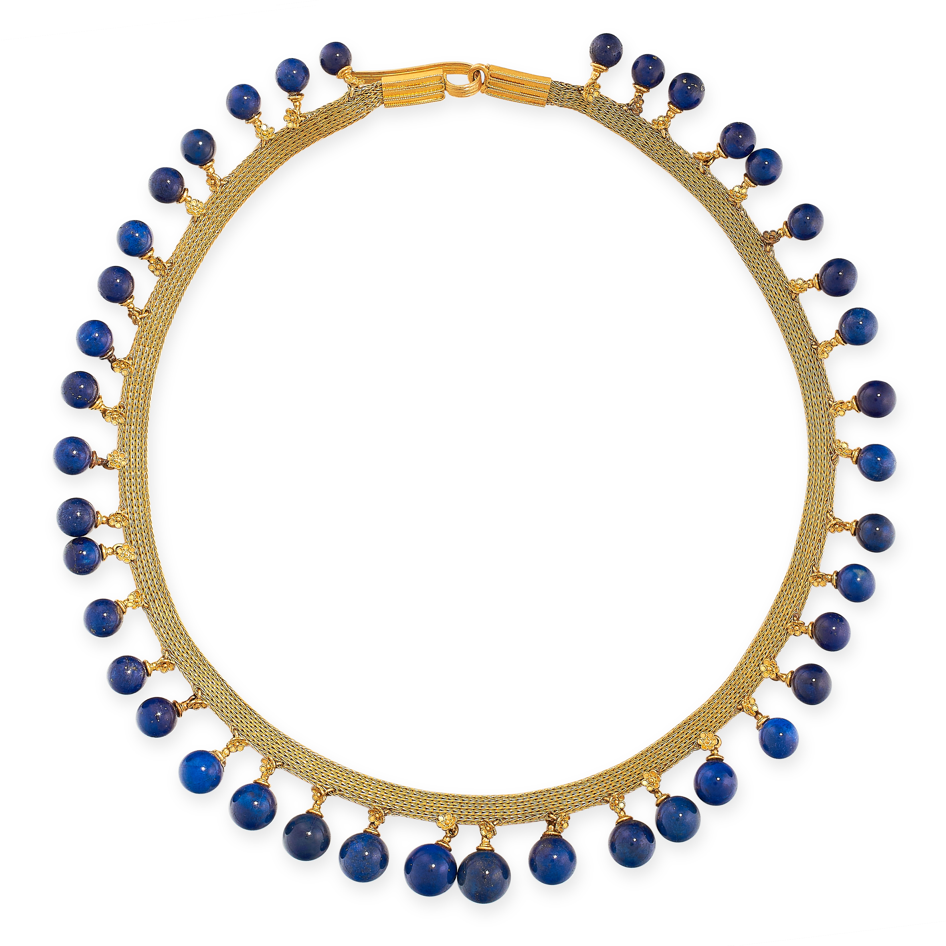 ANTIQUE LAPIS LAUZLI COLLAR NECKLACE, 19TH CENTURY in yellow gold, in the Etruscan revival manner,