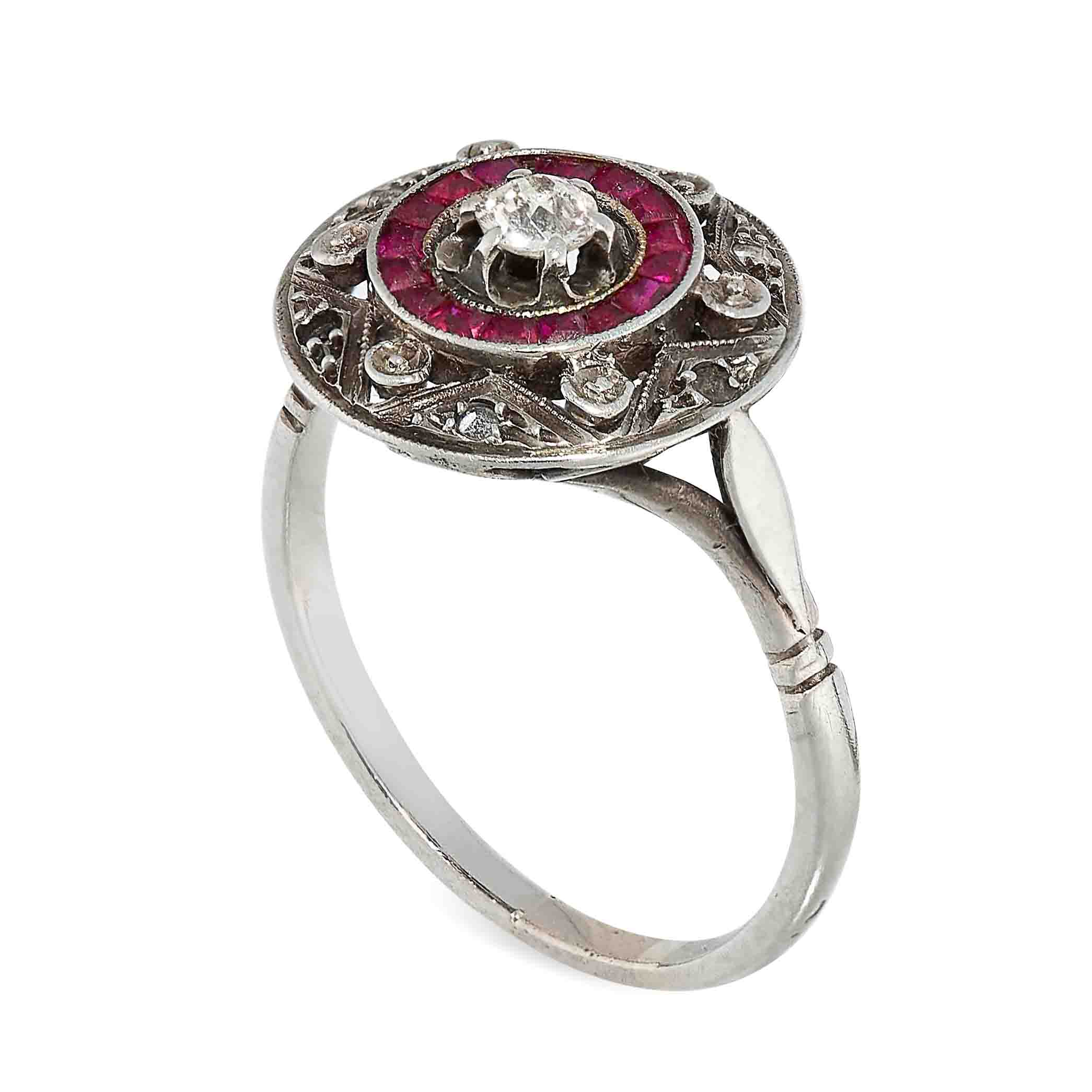 ART DECO RUBY AND DIAMOND TARGET RING the circular face is set with an old cut diamond in a border - Image 2 of 2