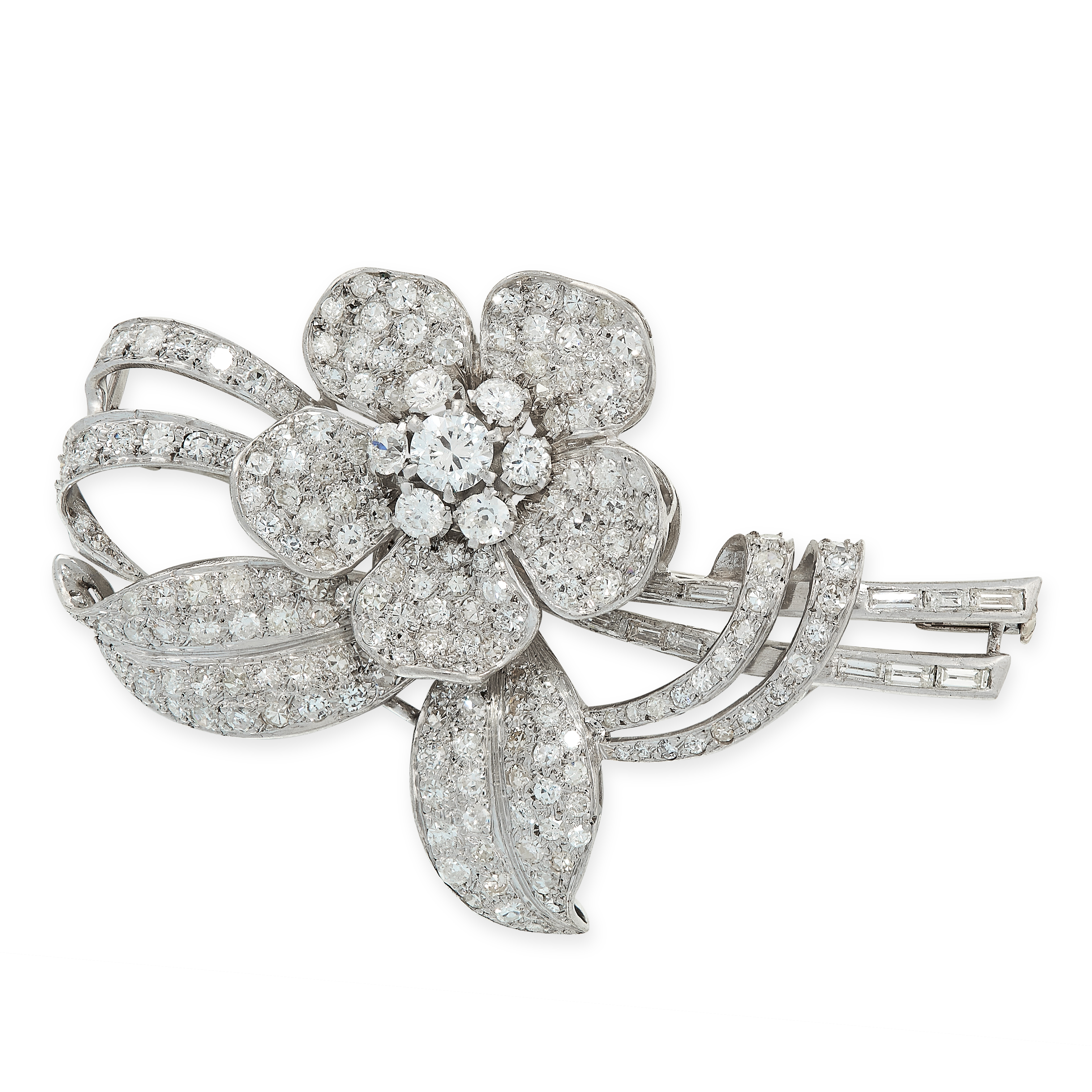 VINTAGE DIAMOND FLOWER SPRAY BROOCH designed as a flower wrapped in a ribbon, jewelled allover
