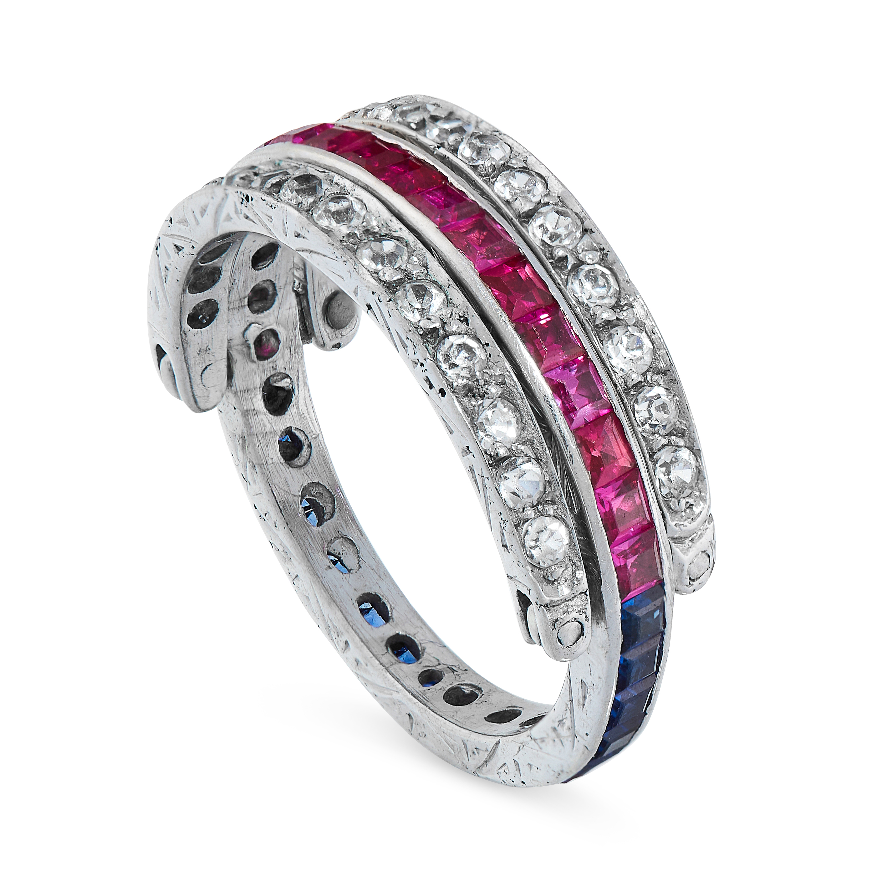 SYNTHETIC SAPPHIRE, RUBY AND PASTE REVERSIBLE RING the central band half set each with synthetic - Image 2 of 2