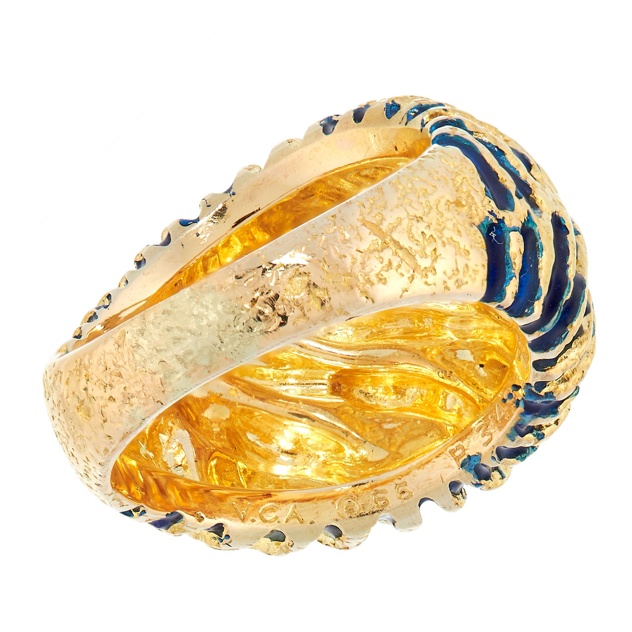 ENAMEL RING, VAN CLEEF & ARPELS in bombe form, the surface textured with alternating twisted gold - Image 3 of 3