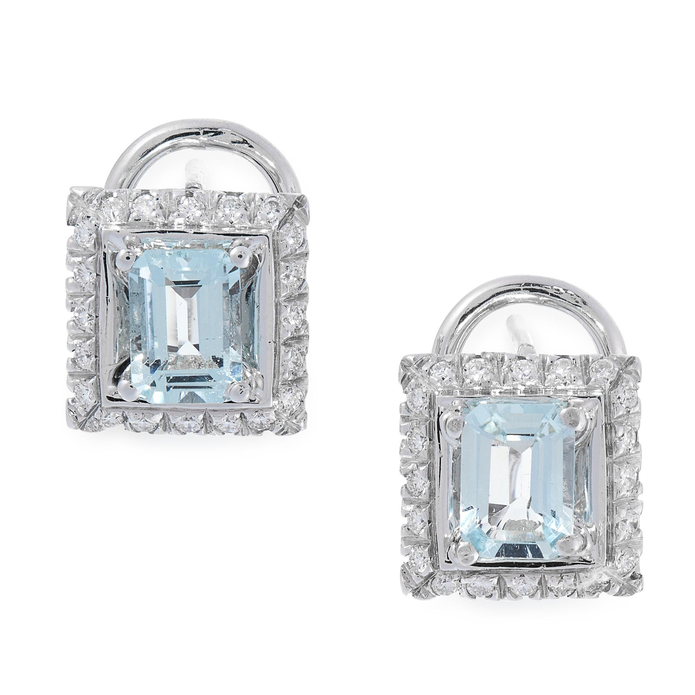 PAIR OF AQUAMARINE AND DIAMOND STUD EARRINGS in 18ct white gold, each set with an emerald cut