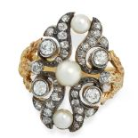 DIAMOND AND PEARL RING in yellow gold and silver, the open scrolling face set with three pearls,