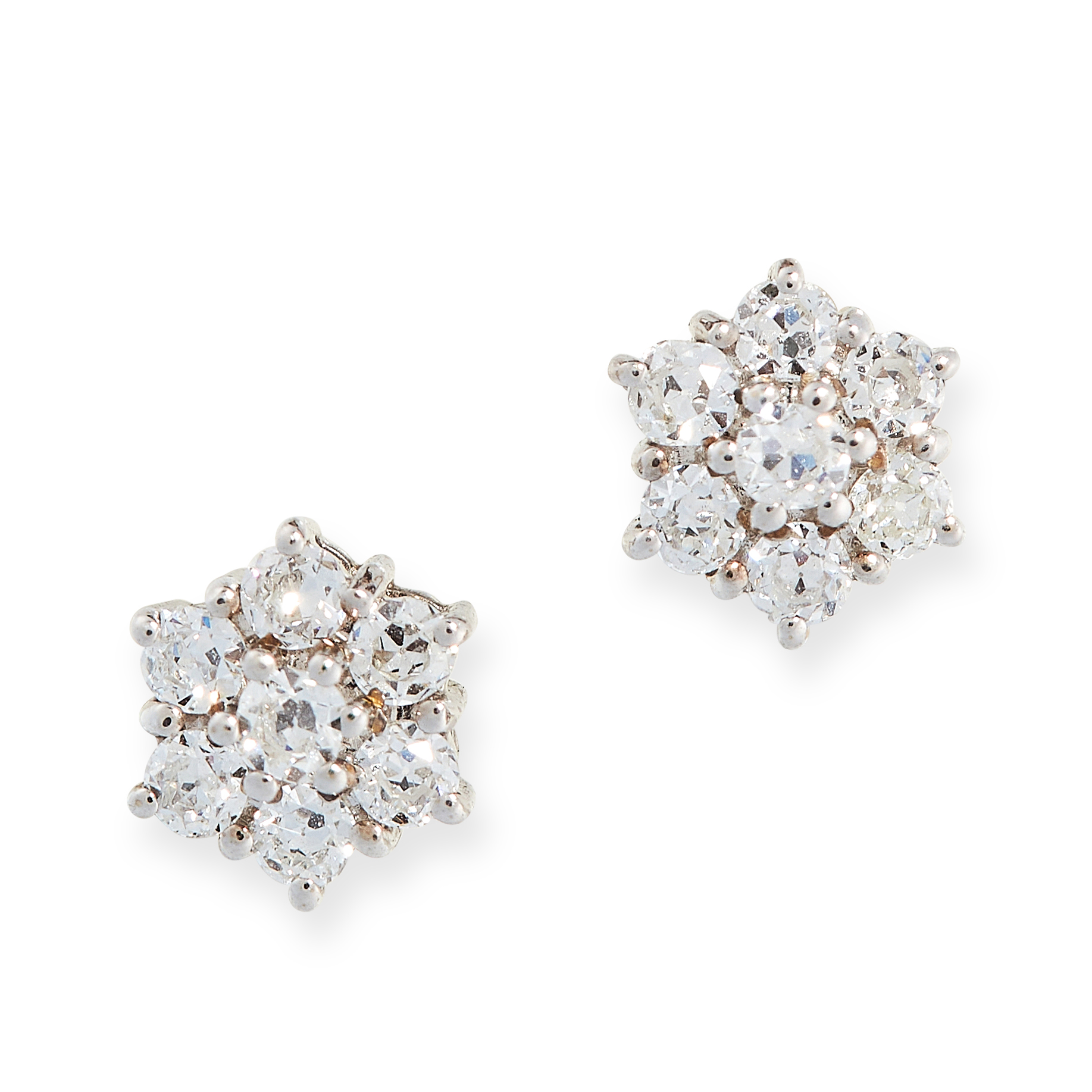 PAIR OF DIAMOND CLUSTER STUD EARRINGS in 18ct white gold, each designed as a cluster of old cut