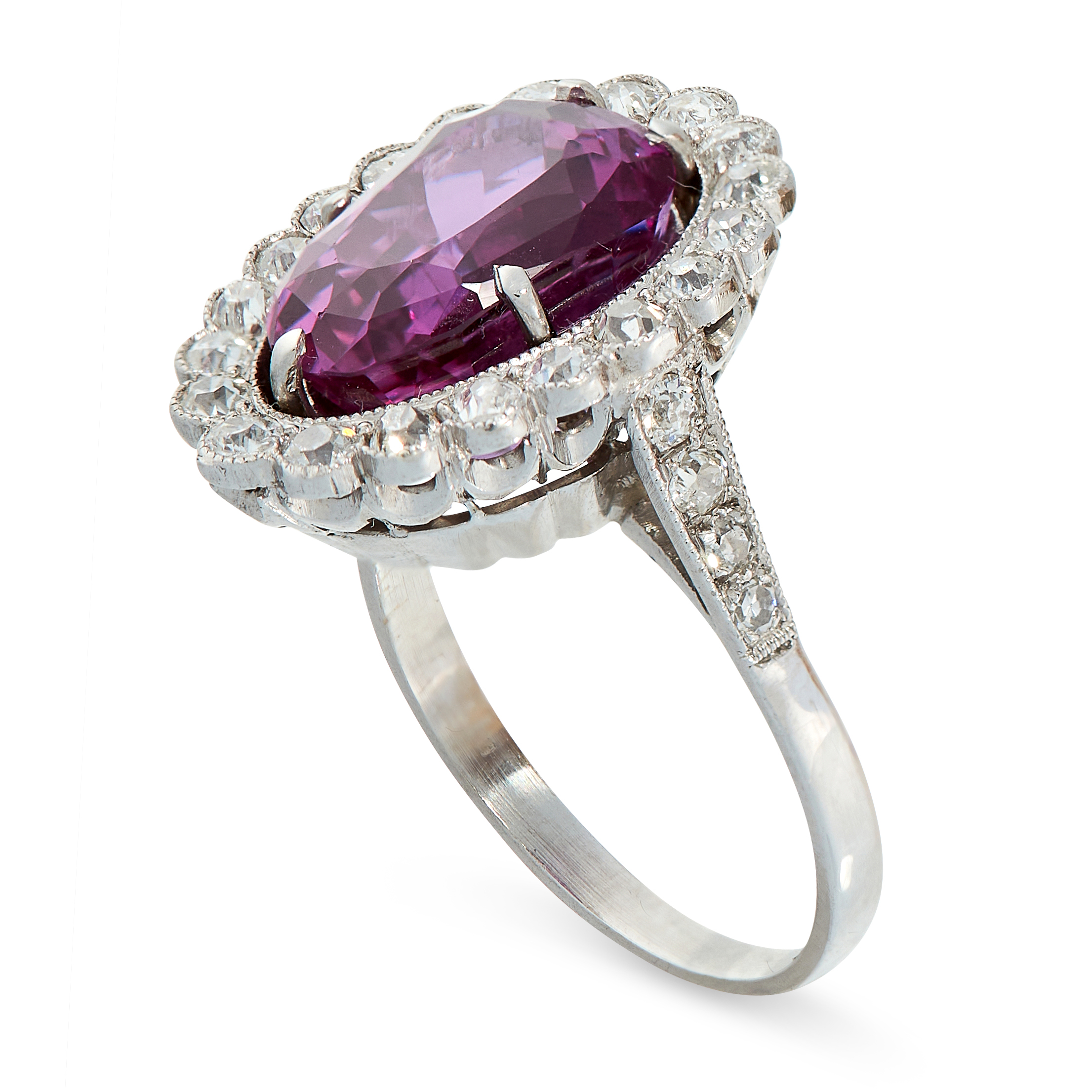 CEYLON NO HEAT PINK SAPPHIRE AND DIAMOND RING in cluster form, set with a pear cut pink sapphire - Image 2 of 2