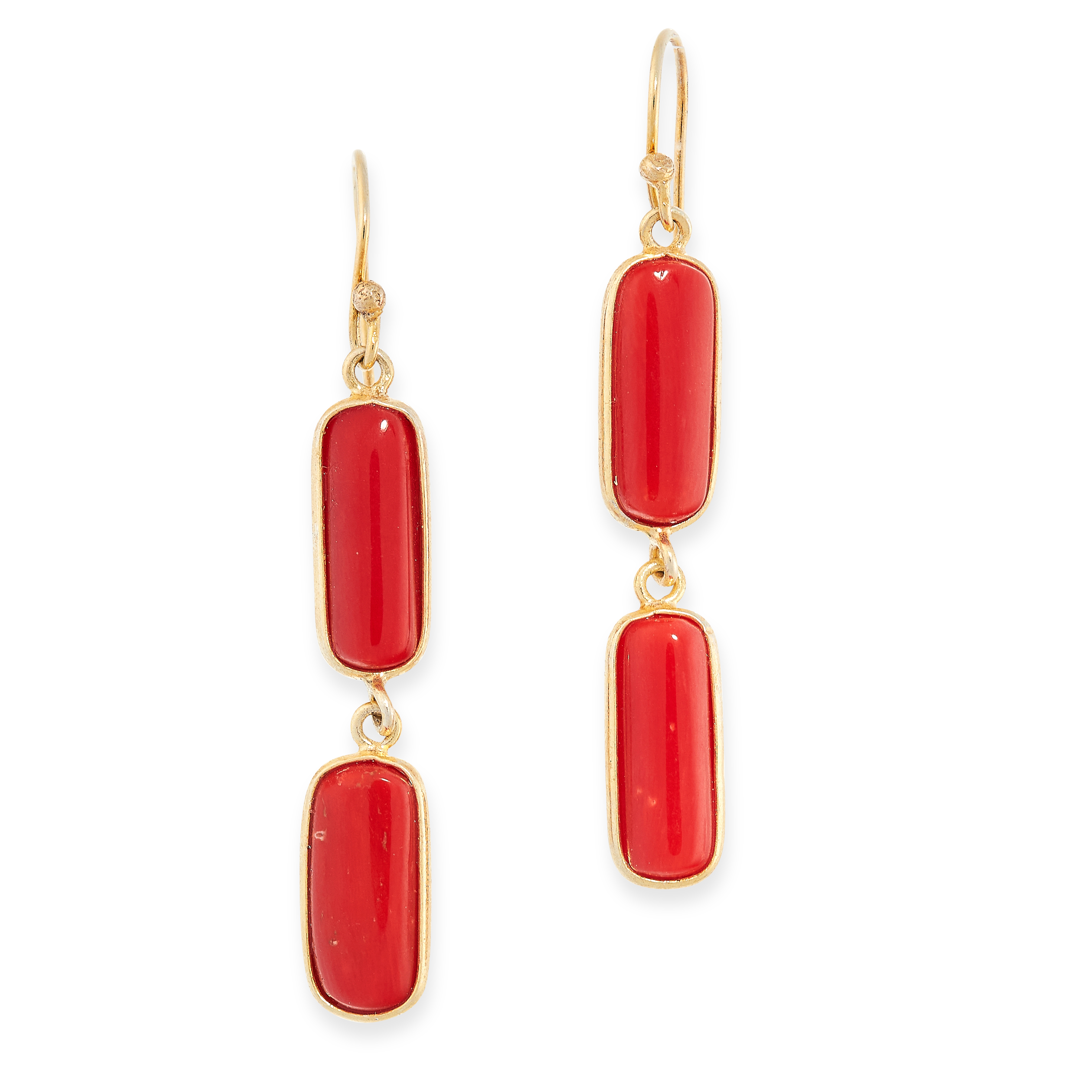 CORAL SAUTOIR AND EARRINGS SUITE the necklace comprises of twenty polished coral batons on chain, - Image 2 of 2