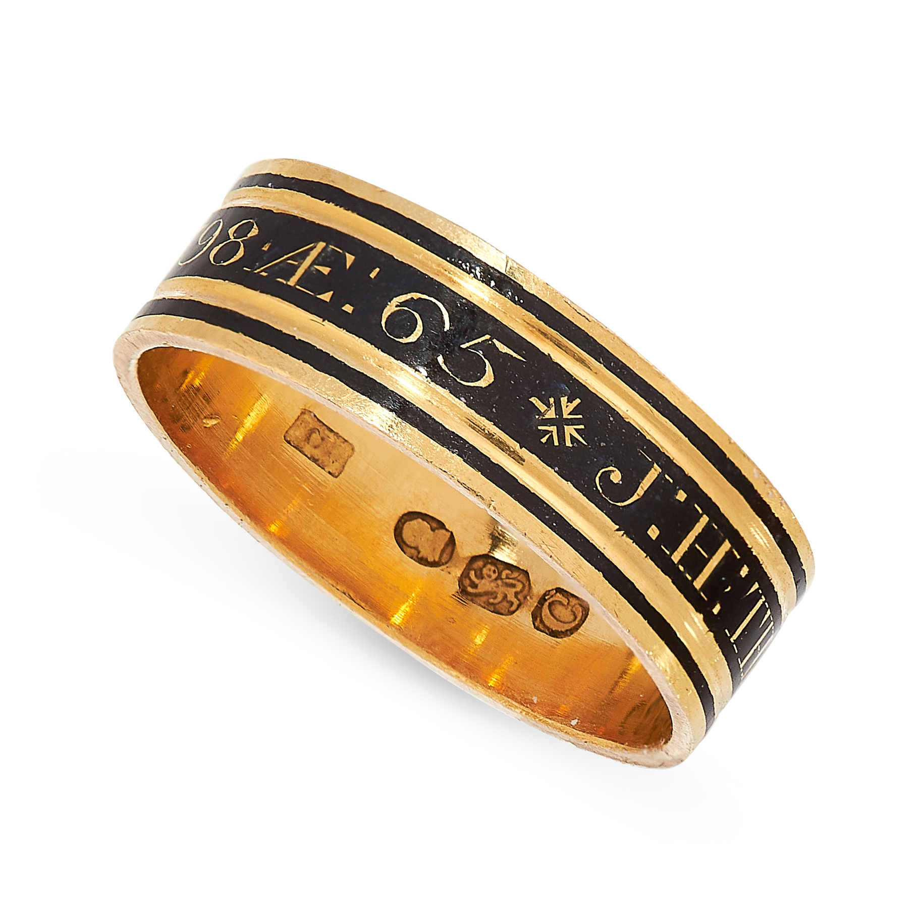 ANTIQUE ENAMEL MOURNING RING, 1798 in 18ct yellow gold, designed as a band set all around with black - Image 2 of 2