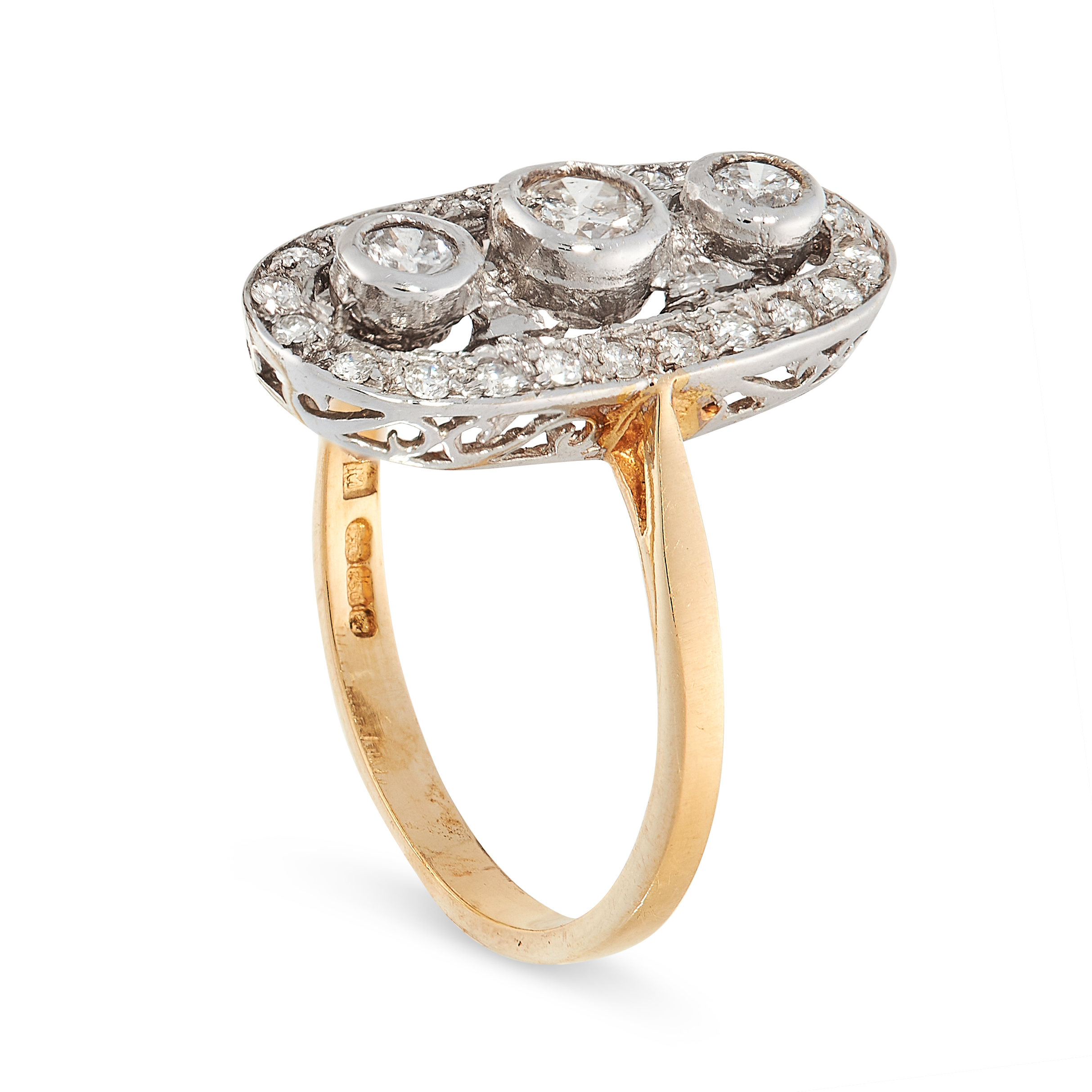 DIAMOND DRESS RING in 18ct yellow gold, set with three principle diamonds totalling 0.24 carats in - Image 2 of 2