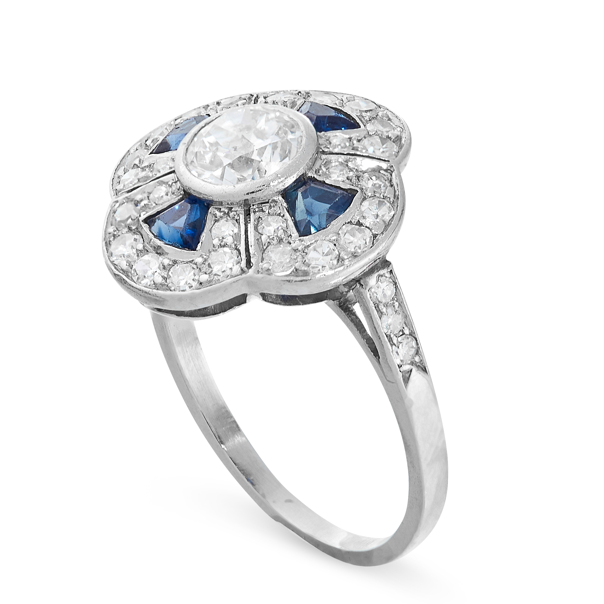 SAPPHIRE AND DIAMOND RING in cluster form, set with an old cut diamond of 0.50 carats in a border of - Image 2 of 2