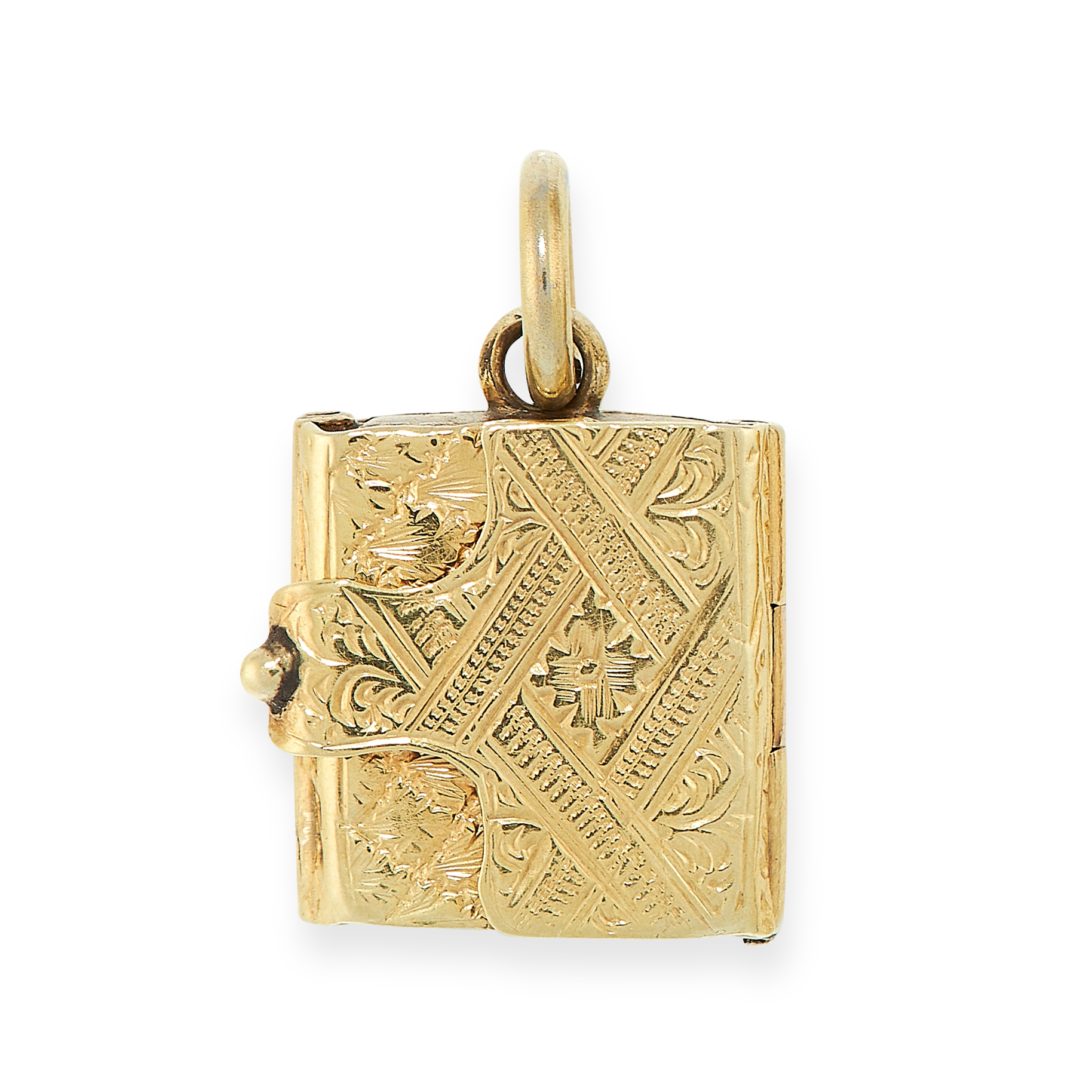 ANTIQUE MOURNING LOCKET BOOK CHARM PENDANT in yellow gold, detailed in textured design, opening to