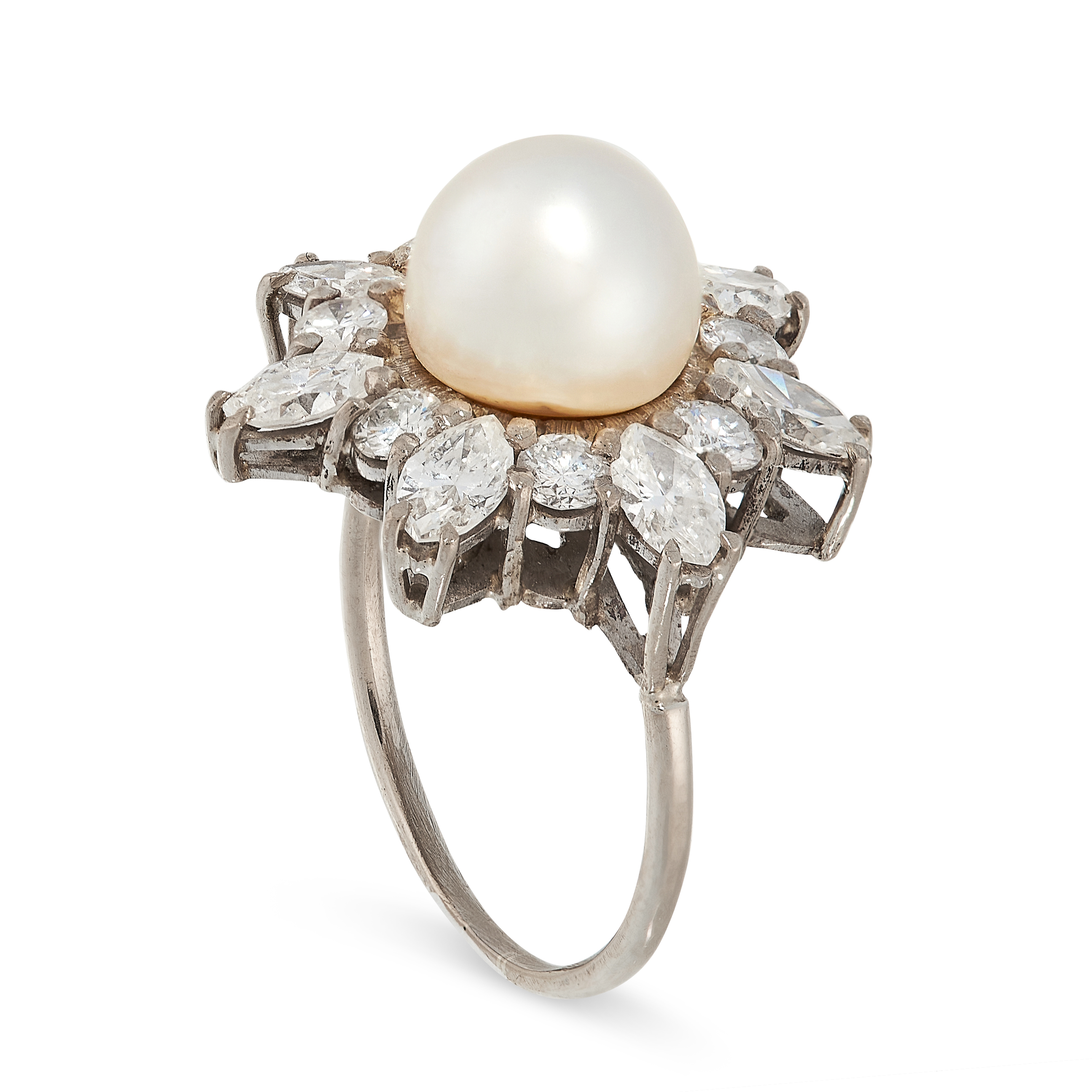 VINTAGE PEARL AND DIAMOND RING in cluster form, set with a pearl of 8.3mm in a border of round and - Image 2 of 2