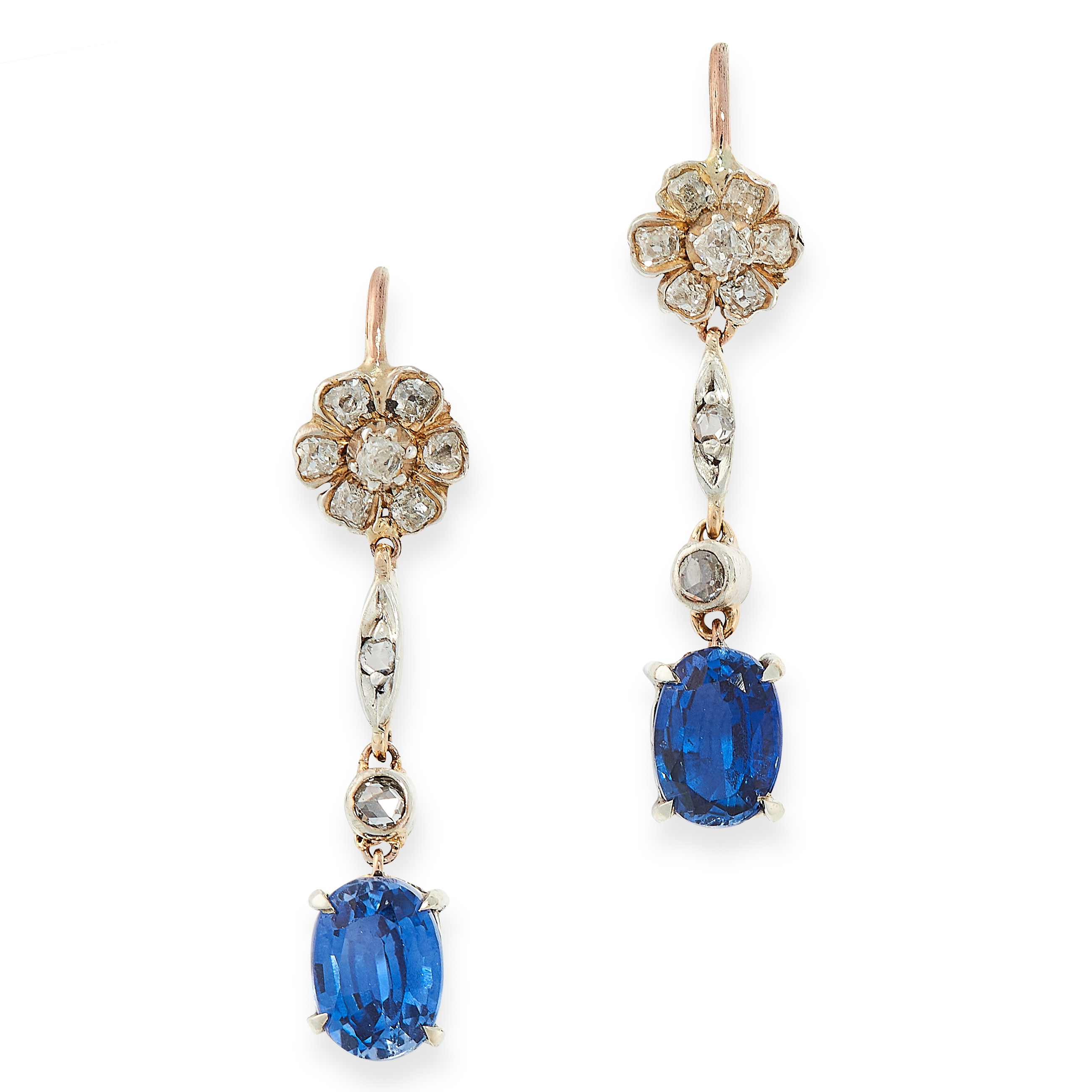 PAIR OF SAPPHIRE AND DIAMOND DROP EARRINGS comprising of a floral cluster set with old cut diamonds,