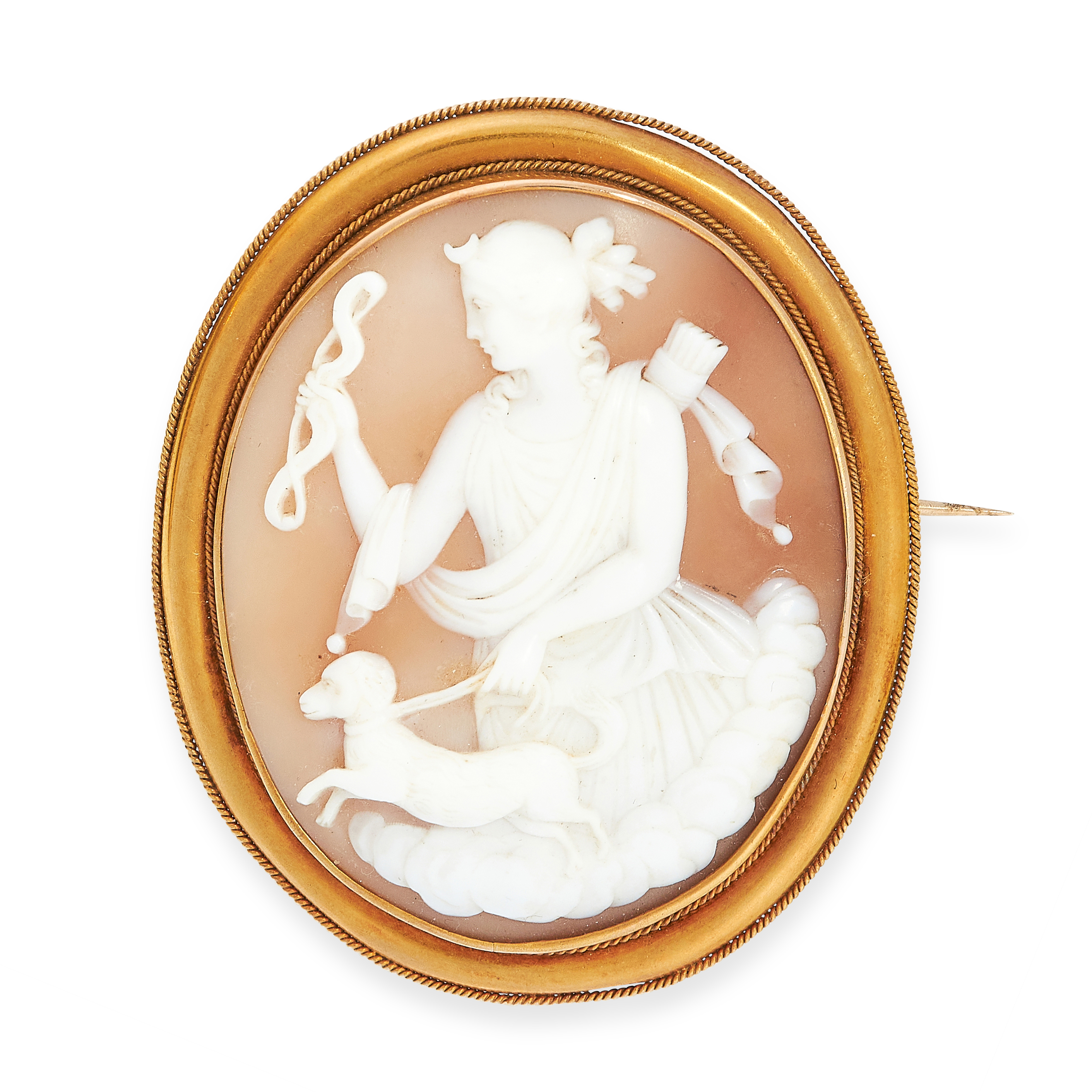 ANTIQUE CAMEO BROOCH in yellow gold, set with a carved shell cameo depicting a classical lady with a