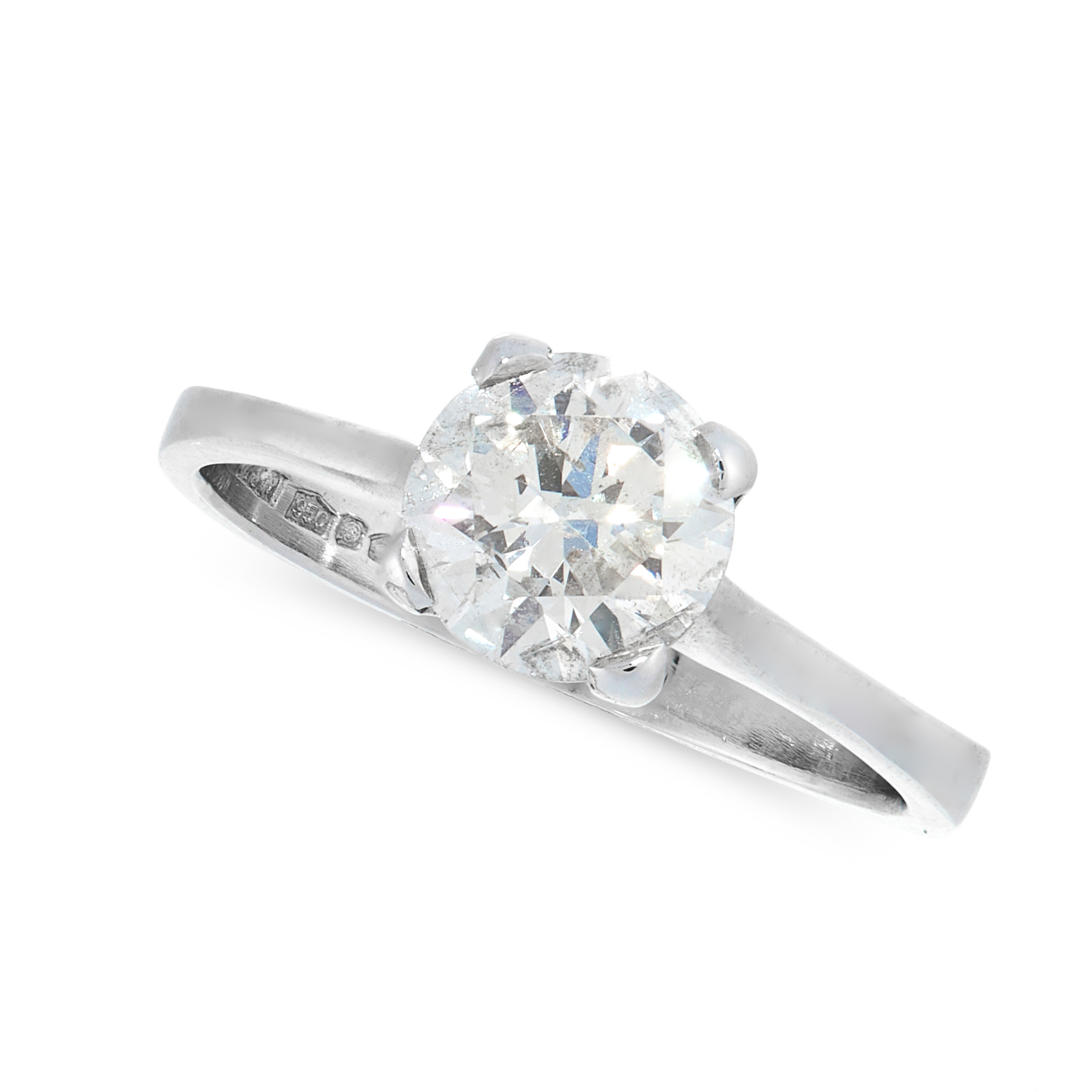 A SOLITAIRE DIAMOND DRESS RING in platinum, set with a round cut diamond of 1.28 carats, full