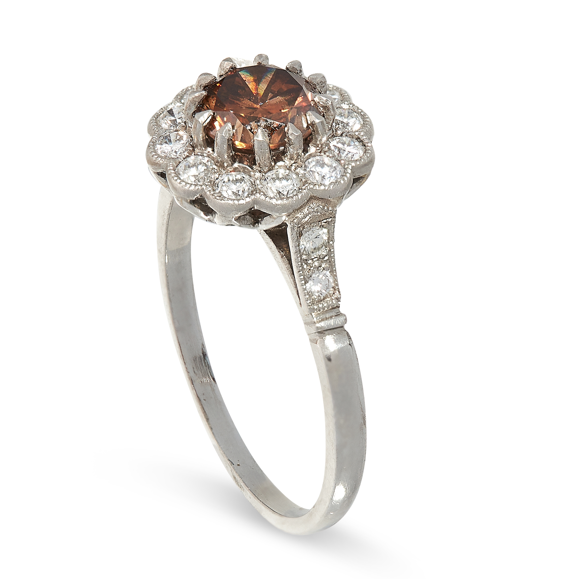 BROWN DIAMOND CLUSTER RING comprising of a round cut brown diamond of 1.00 carats in a border of - Image 2 of 2