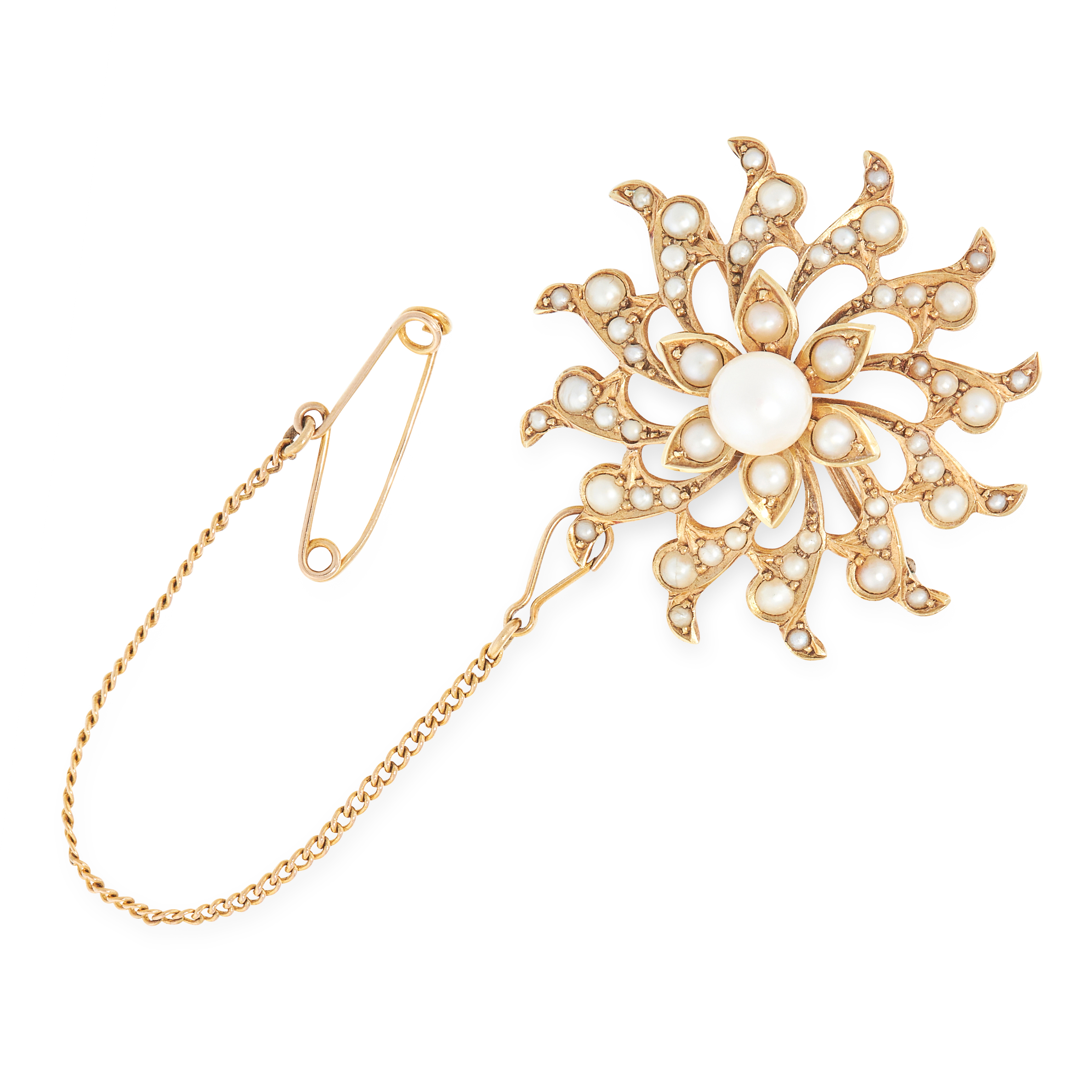 ANTIQUE VICTORIAN PEARL STAR / SUN BROOCH / PENDANT in 15ct yellow gold, designed as a star with
