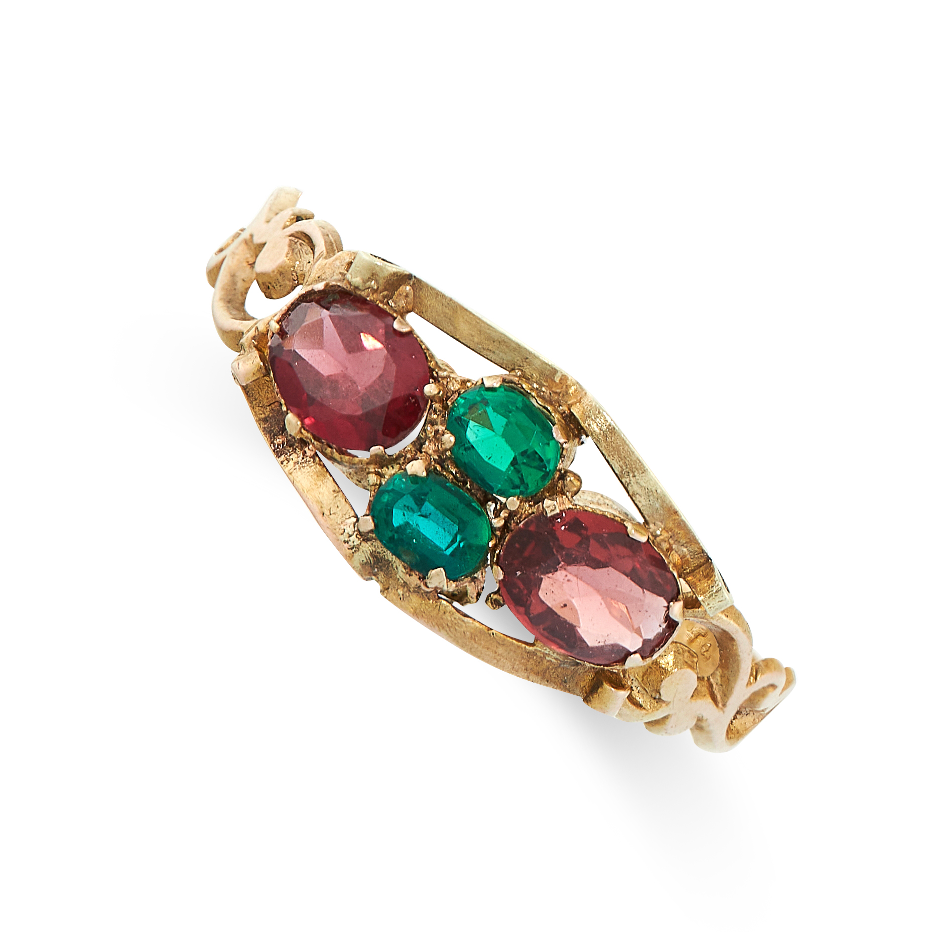 ANTIQUE GEMSET RING, 1858 in 12ct yellow gold, comprising of two oval cut green gemstones between