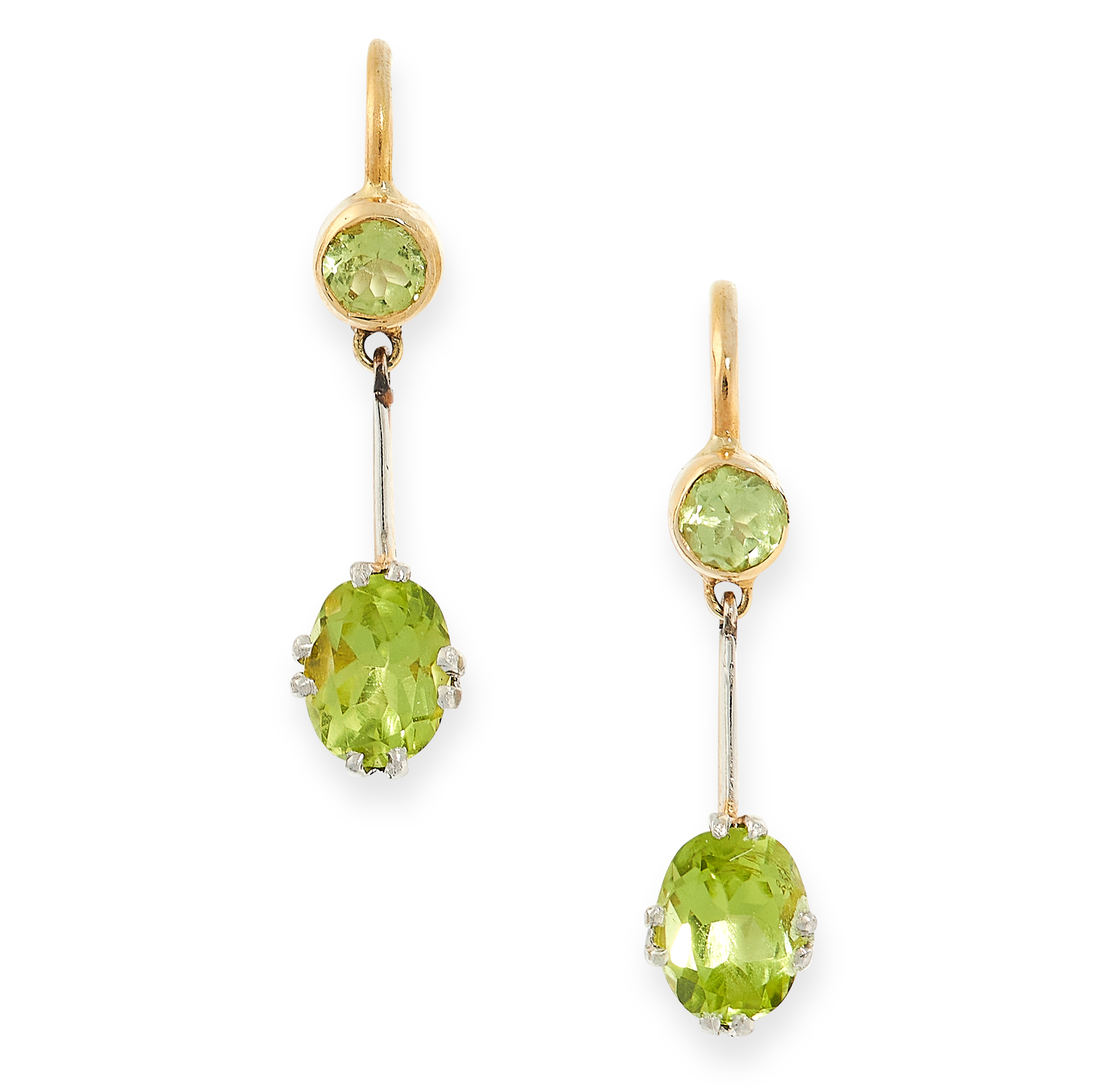 PAIR OF PERIDOT DROP EARRINGS in yellow gold, each formed of a round cut peridot above a further