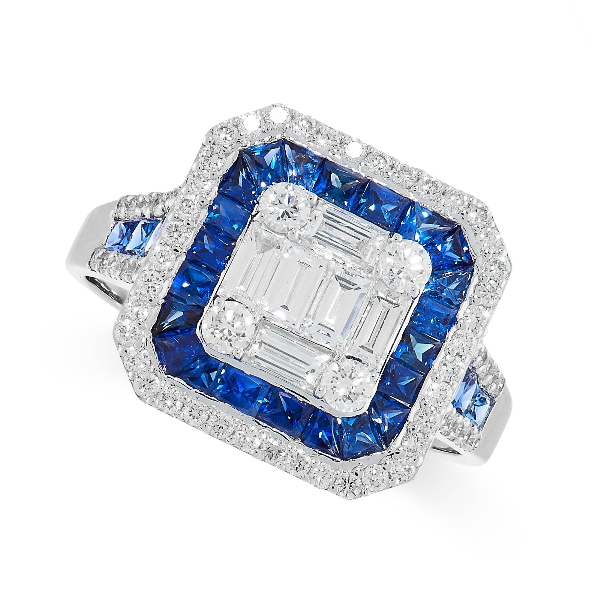 SAPPHIRE AND DIAMOND RING the central cluster composed of baguette and brilliant-cut diamonds, - Image 2 of 2
