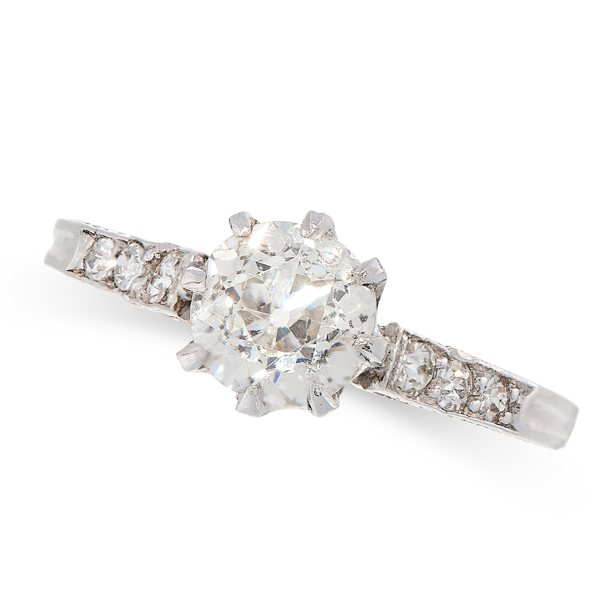 SOLITAIRE DIAMOND RING comprising of an old cut diamond of 1.00 carats, with further single cut
