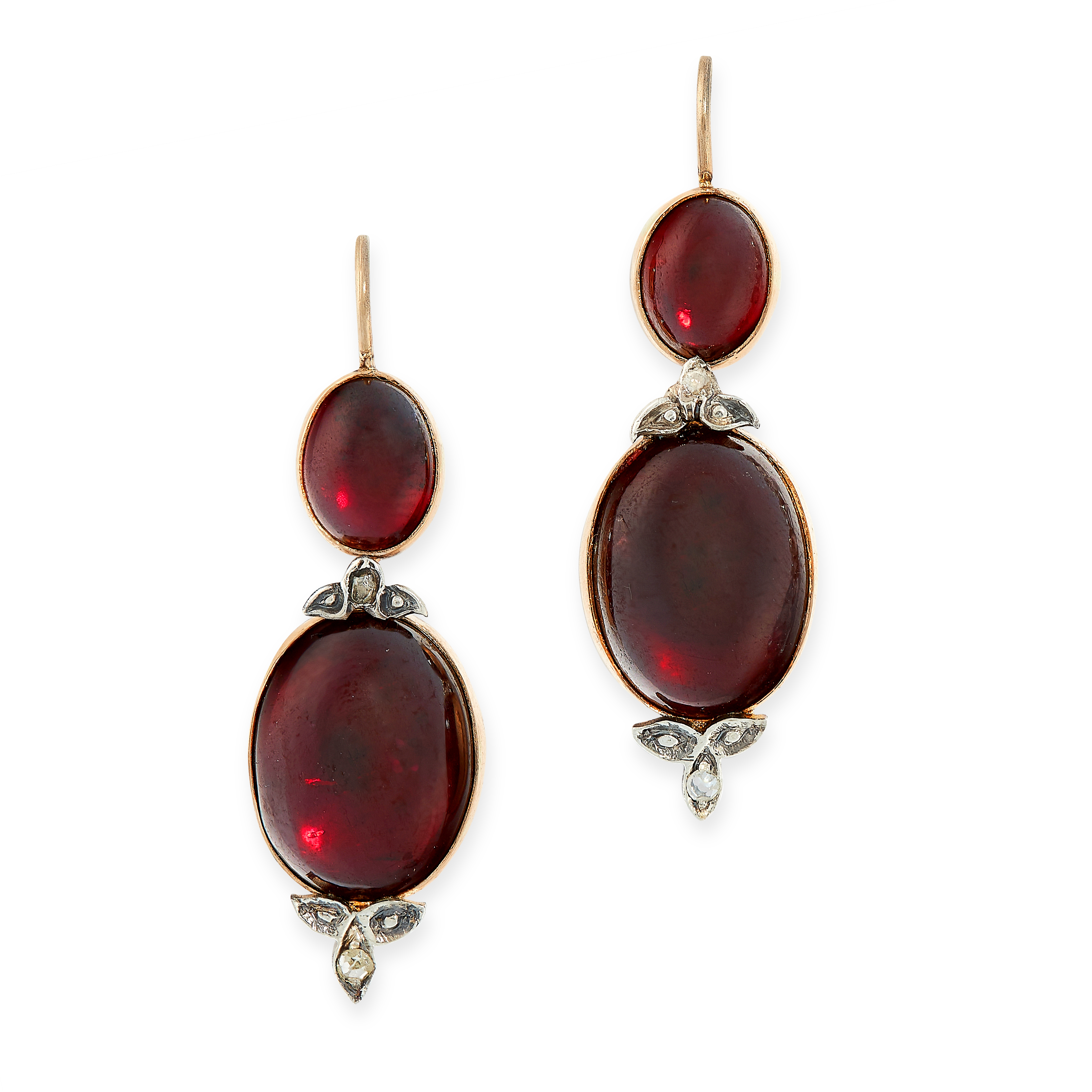 PAIR OF ANTIQUE GARNET AND DIAMOND EARRINGS in yellow gold, each comprising of two cabochon