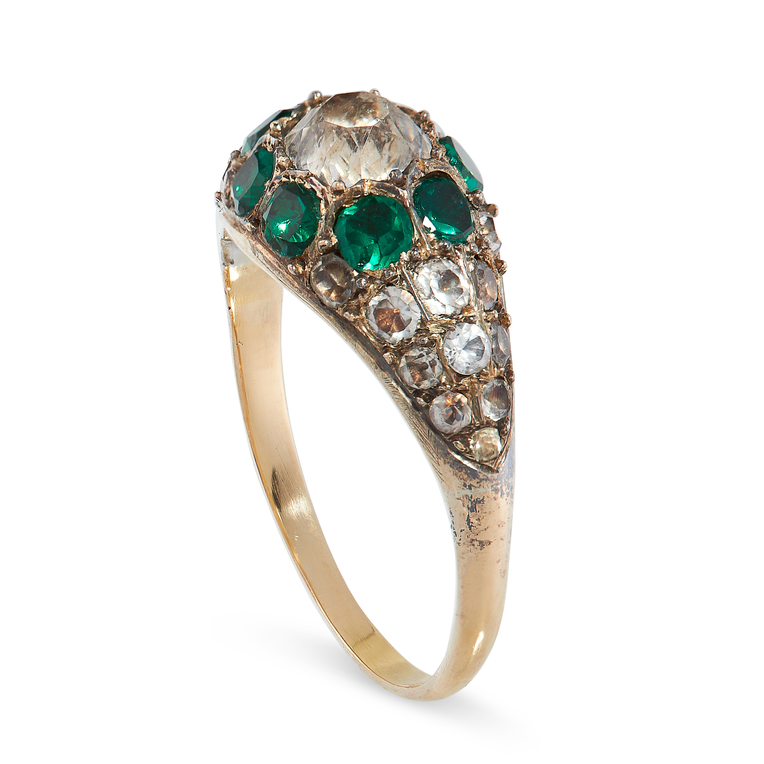 ANTIQUE PASTE RING comprising of a central cushion cut white gemstone in a border of round cut green - Image 2 of 2