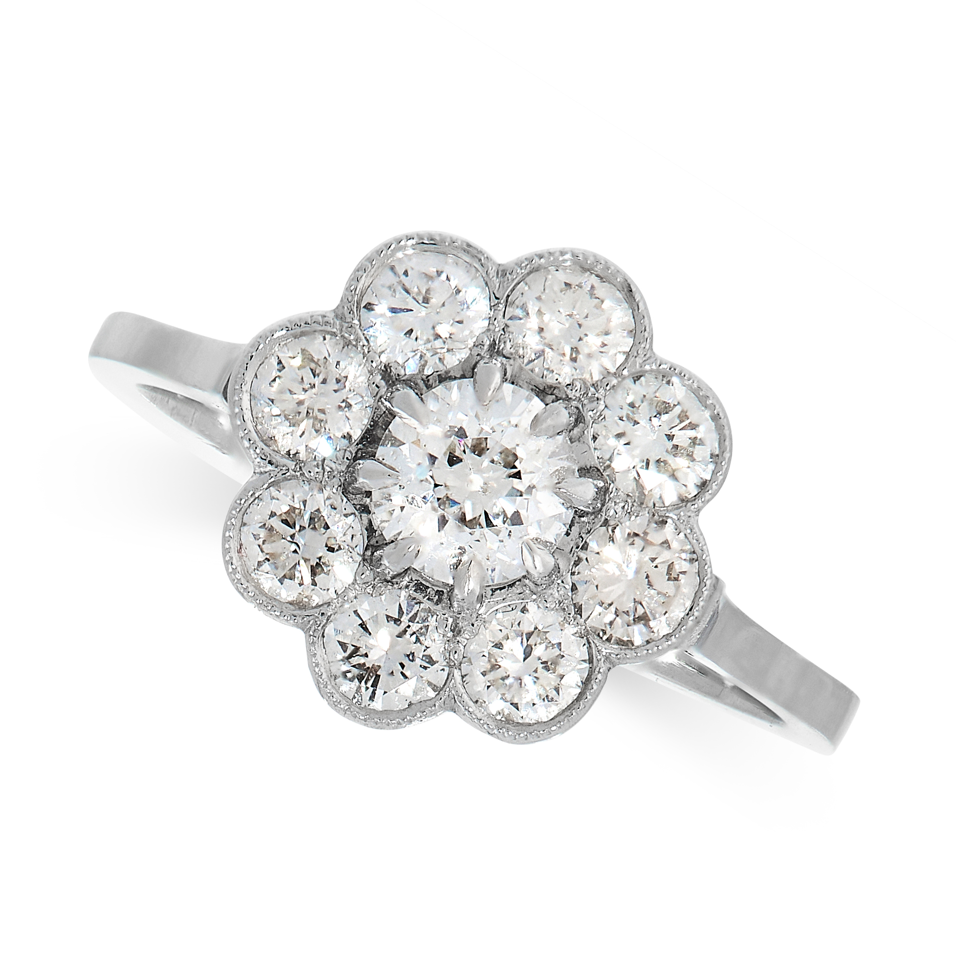 DIAMOND CLUSTER RING comprising of a cluster of round cut diamonds, unmarked, size N / 6.5, 3.7g.