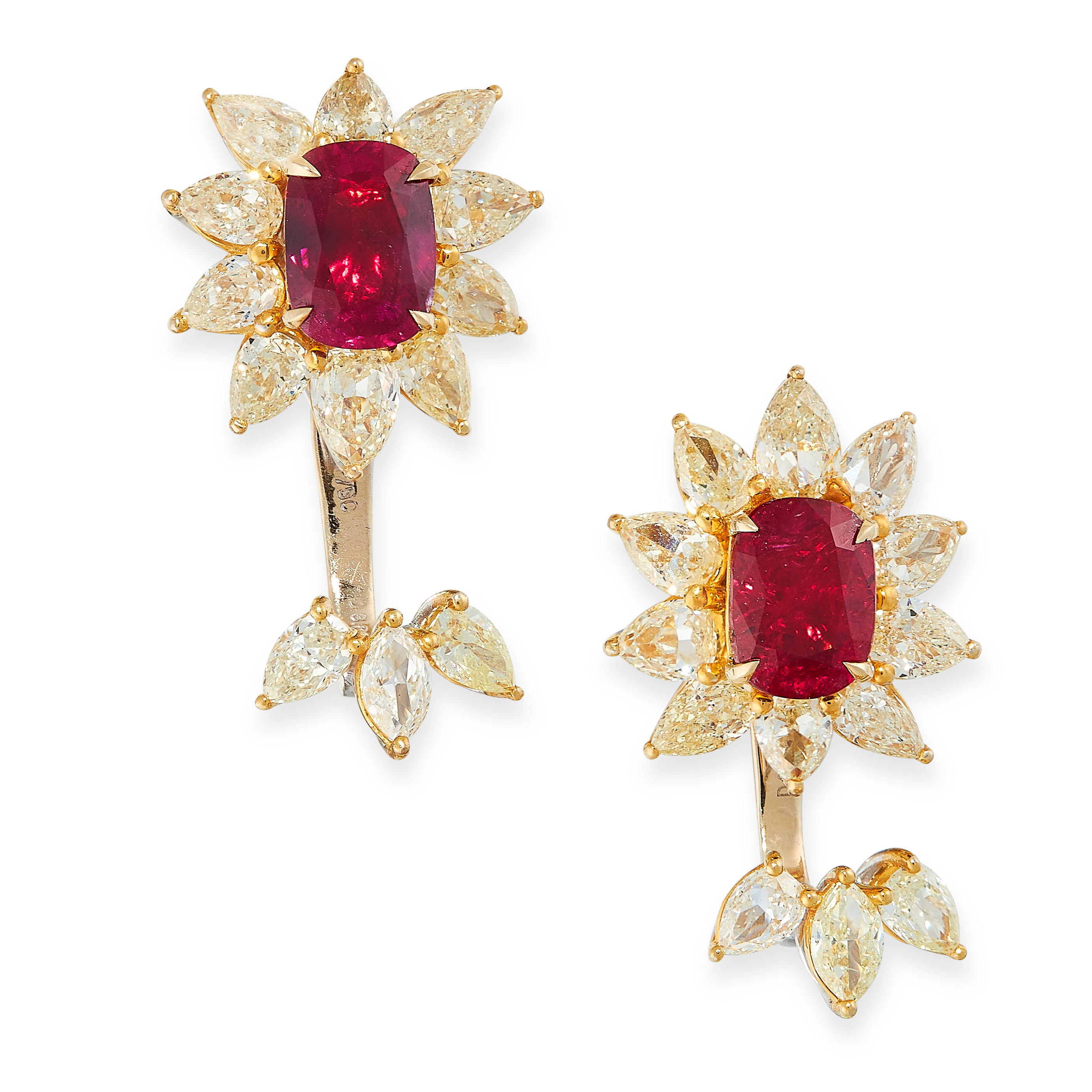 PAIR OF UNHEATED RUBY AND DIAMOND EARRINGS each set with a cushion cut ruby of 1.50 carats,
