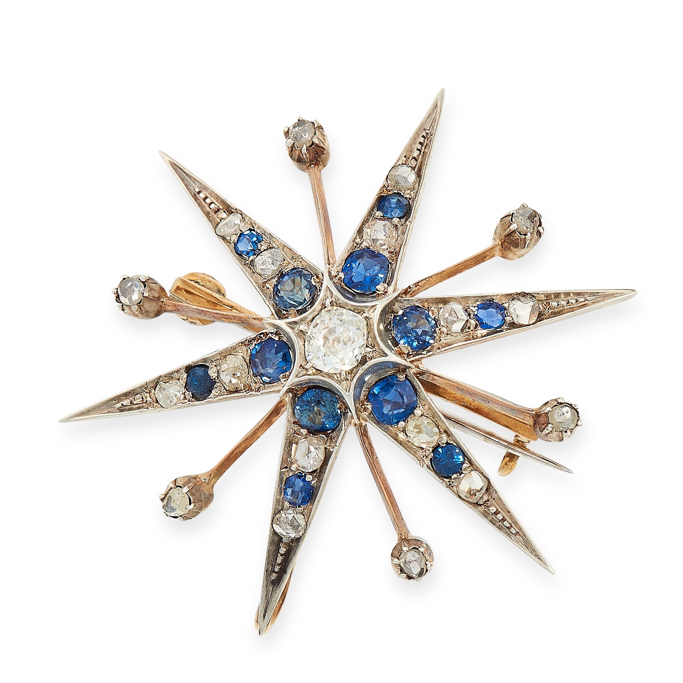 ANTIQUE SAPPHIRE AND DIAMOND STAR BROOCH / PENDANT, 19TH CENTURY in yellow gold and silver, designed