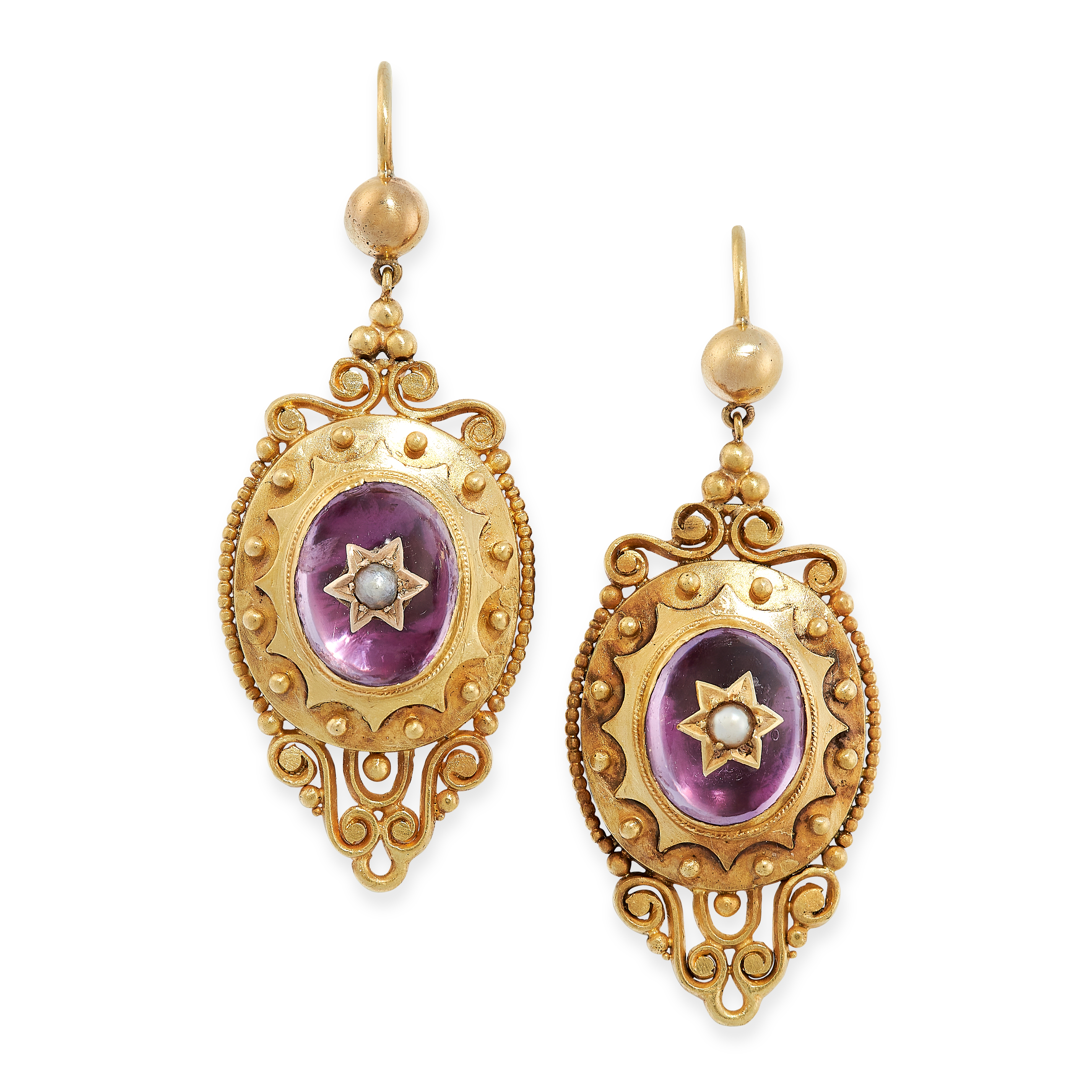 ANTIQUE VICTORIAN GARNET AND PEARL EARRINGS in yellow gold, set with a seed pearl in star motif