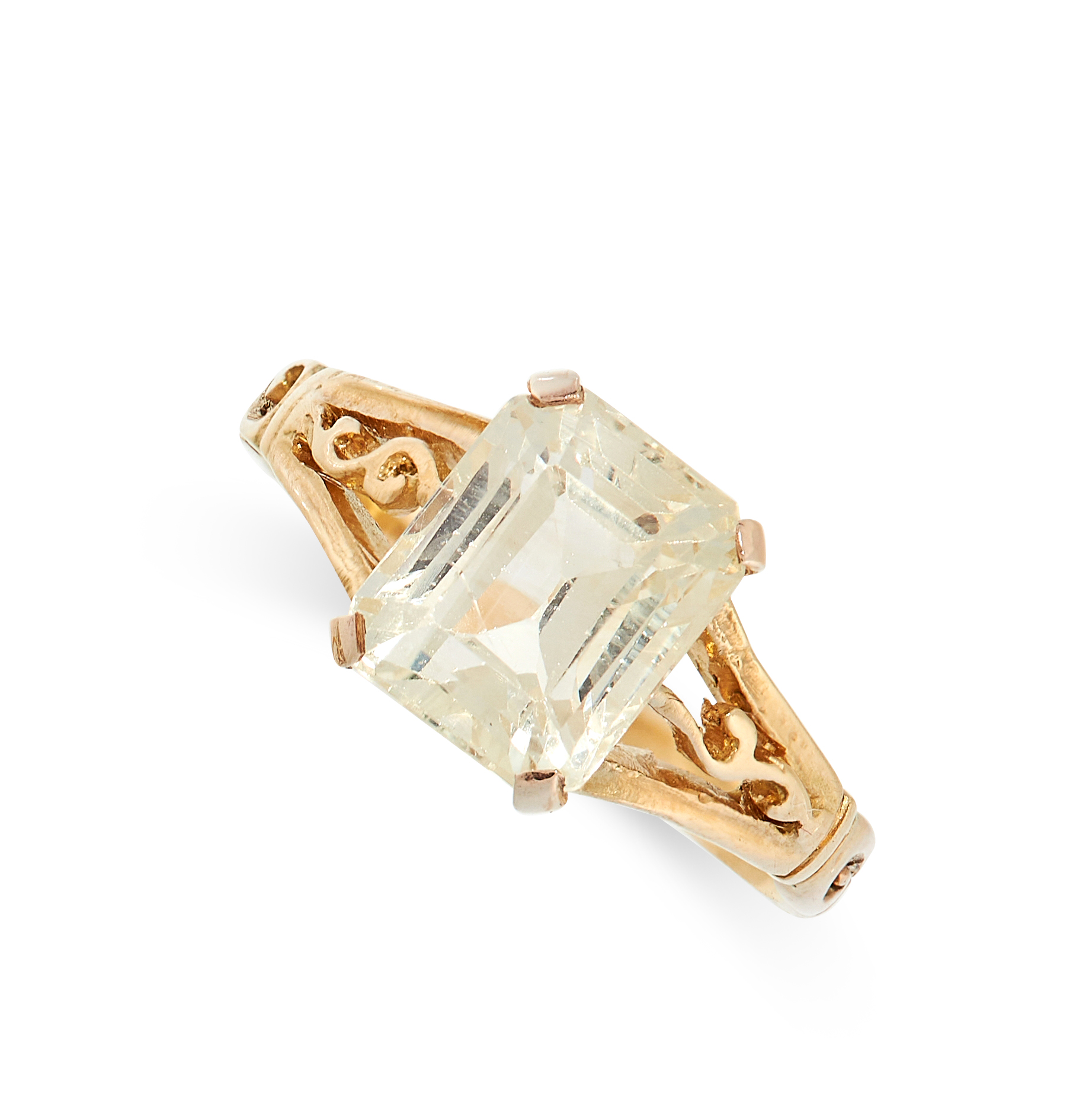 YELLOW SAPPHIRE RING comprising of an emerald cut yellow sapphire of 2.57 carats with scrolling