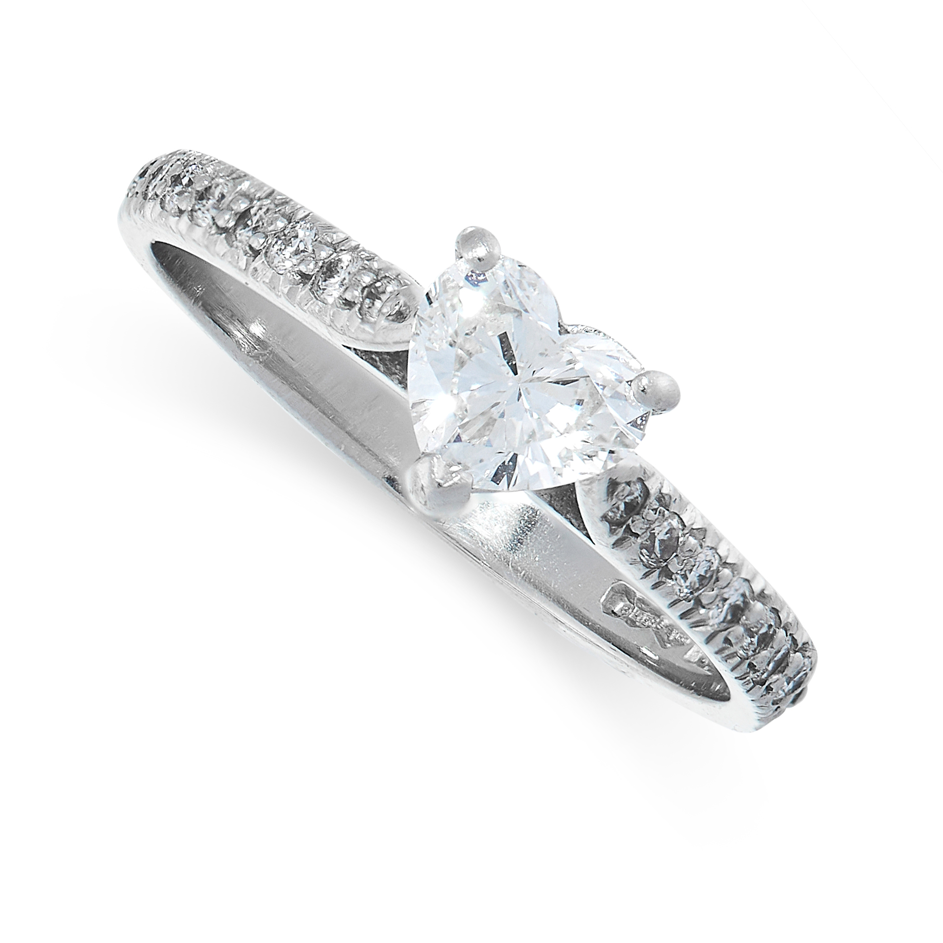 DIAMOND RING comprising of a heart cut diamond of 0.43 carats with round cut diamonds to the