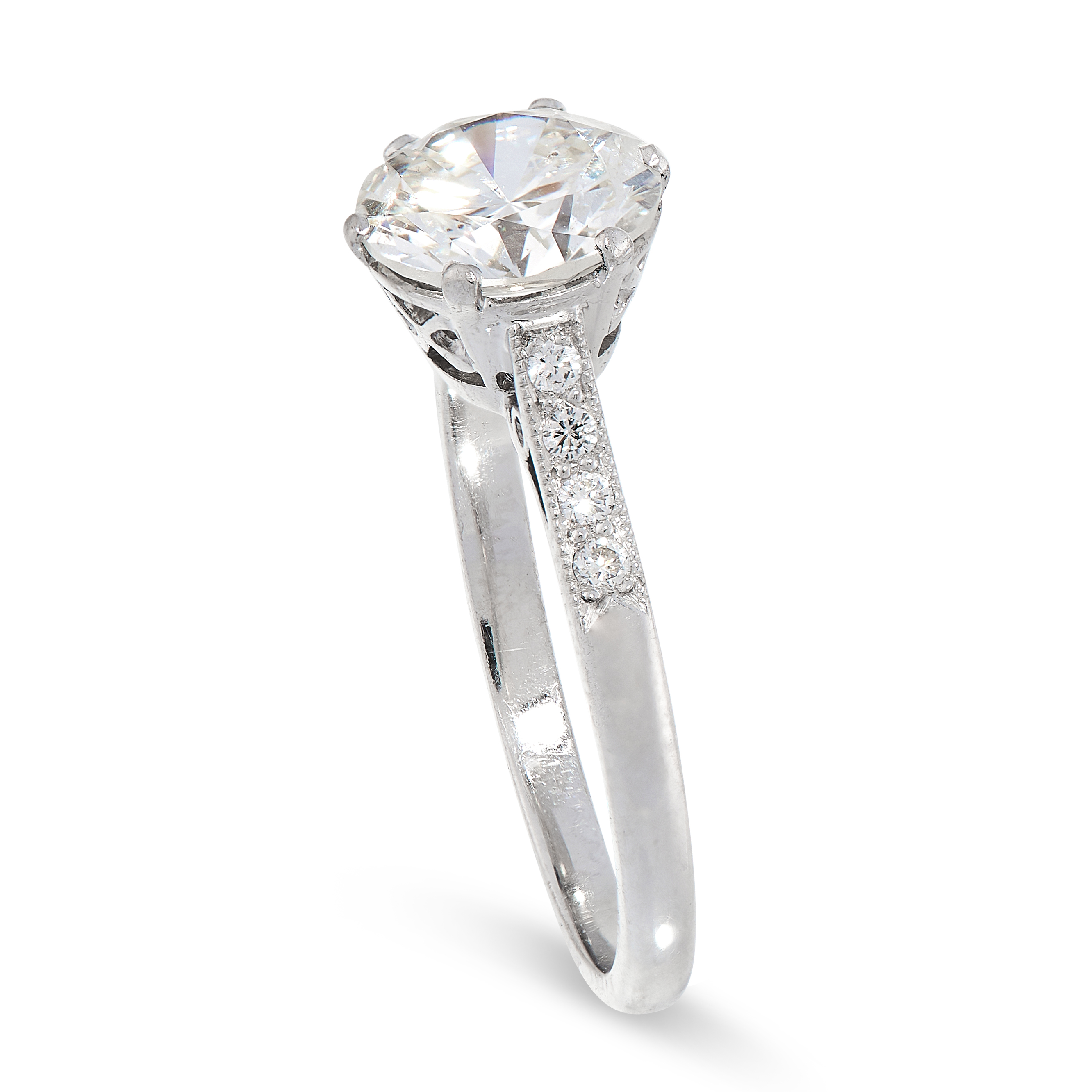 DIAMOND SOLITAIRE RING comprising of a round cut diamond of 1.76 carats with further round cut - Image 2 of 2