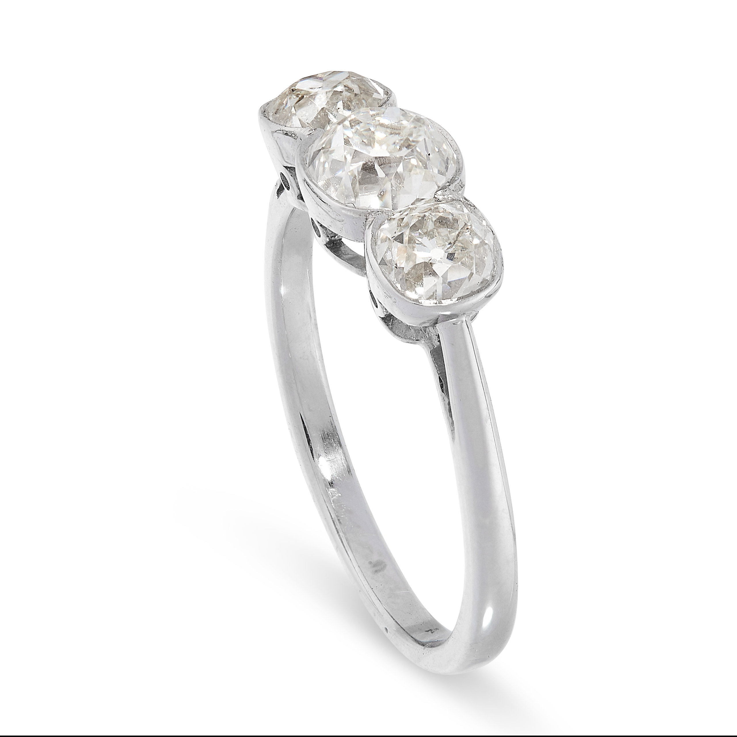 DIAMOND THREE STONE RING comprising of three old cut diamonds totalling 1.57 carats, French marks, - Image 2 of 2