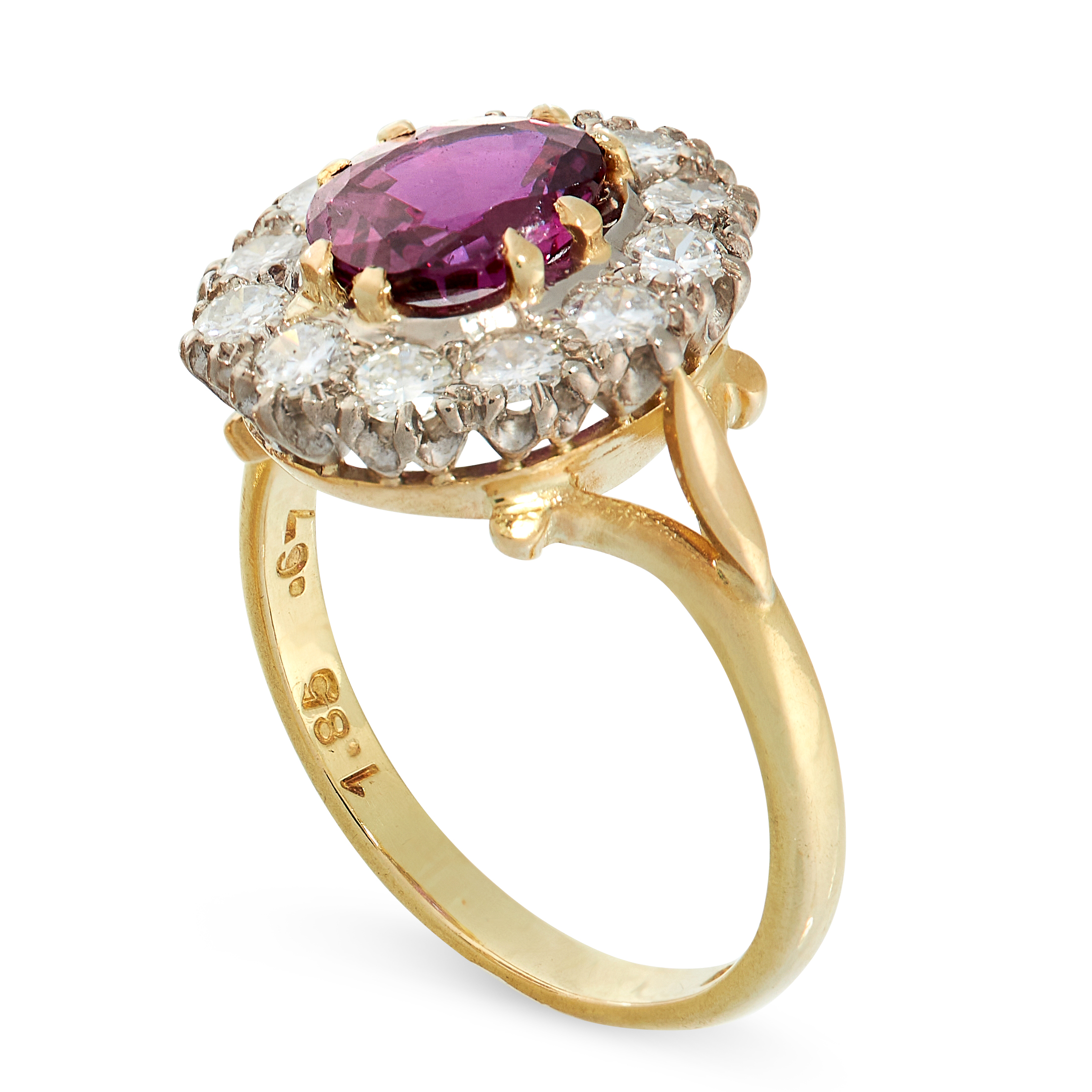UNHEATED RUBY AND DIAMOND RING in 18ct yellow gold, in cluster form, set with a cushion cut ruby - Image 2 of 2