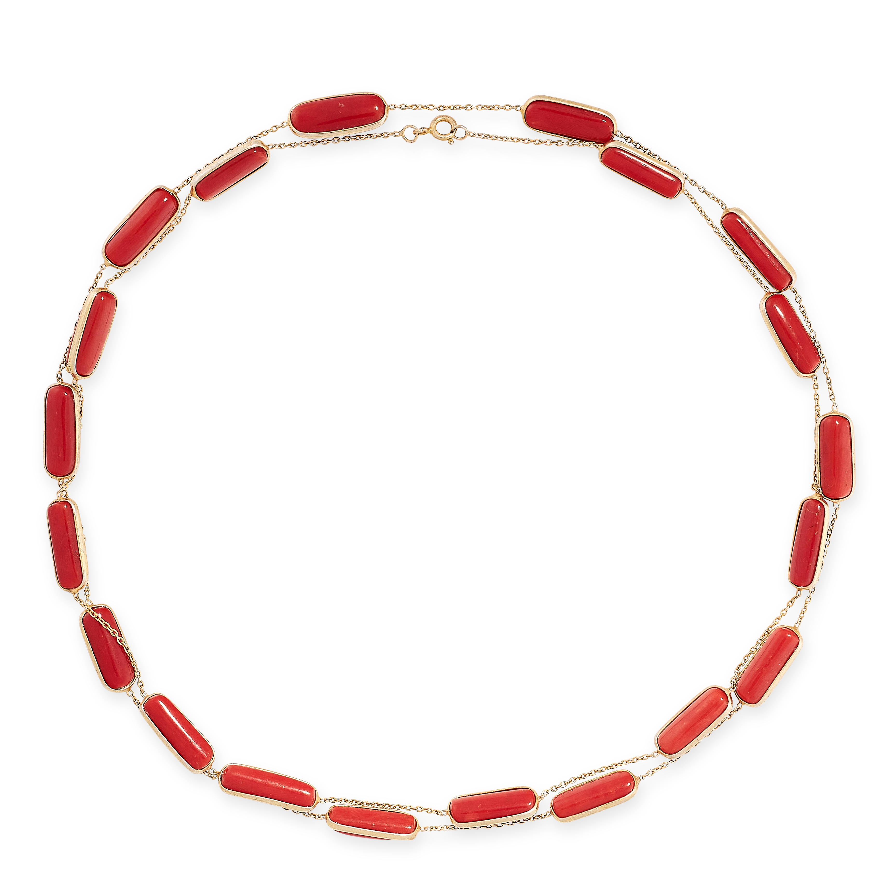 CORAL SAUTOIR AND EARRINGS SUITE the necklace comprises of twenty polished coral batons on chain,