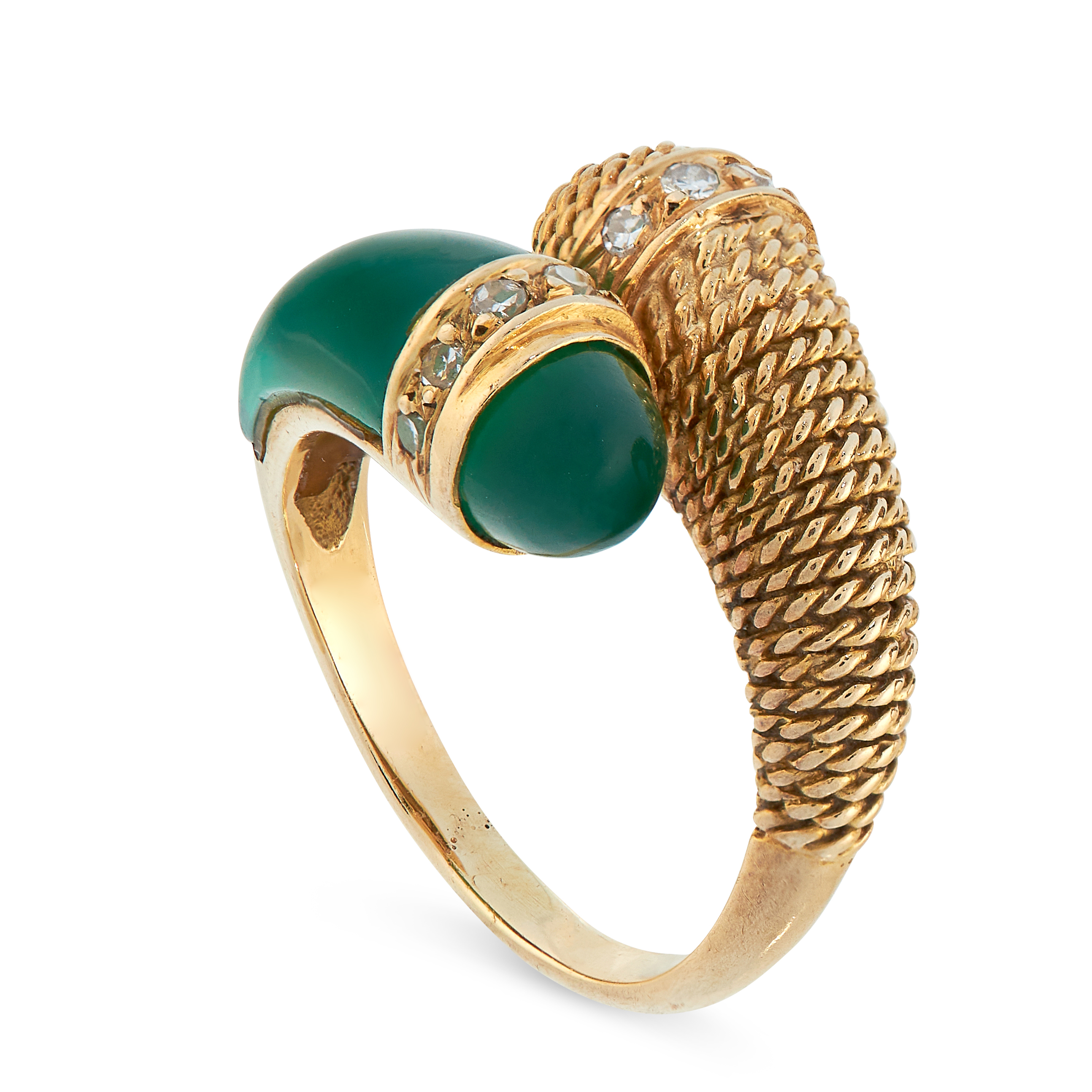 VINTAGE CHRYSOPRASE AND DIAMOND RING, MAUBOUSSIN in 18ct yellow gold, in toi et moi design, set with - Image 2 of 3