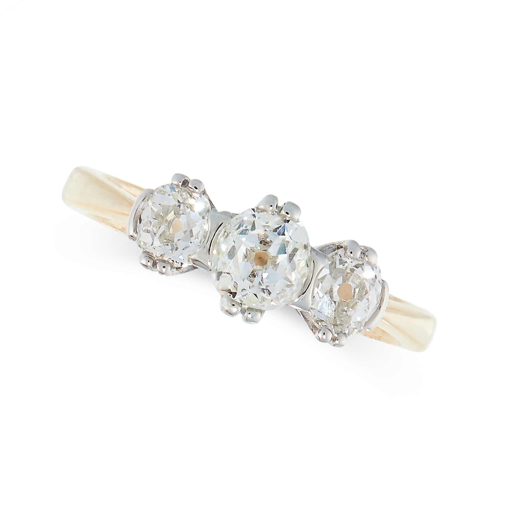 DIAMOND THREE STONE RING in 18ct gold and platinum, set with three old cut diamonds all totalling