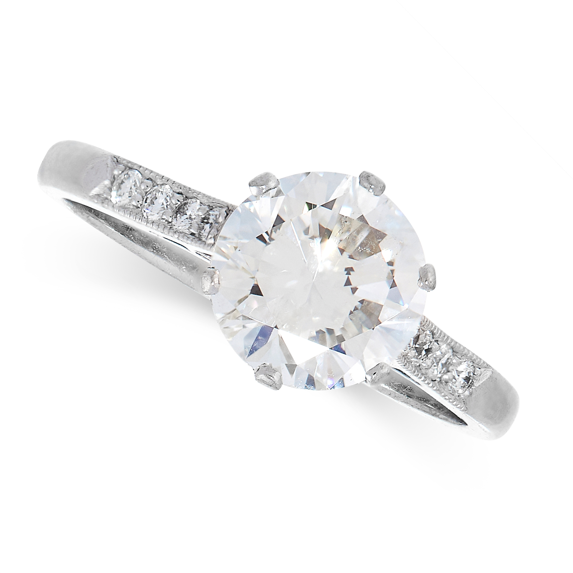 DIAMOND SOLITAIRE RING comprising of a round cut diamond of 1.76 carats with further round cut