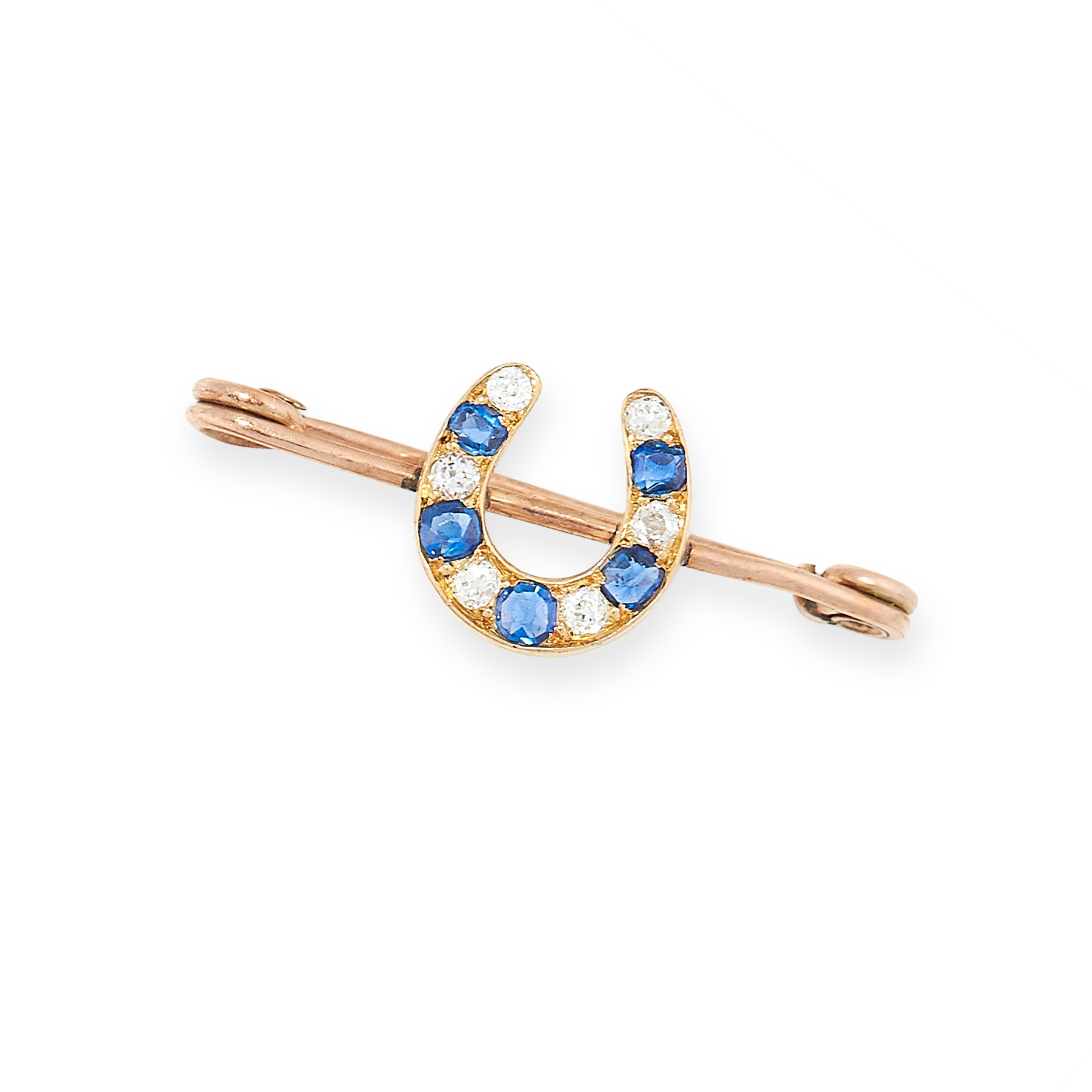 ANTIQUE DIAMOND AND SAPPHIRE HORSESHOE BROOCH in yellow gold, of bar design, set with a horseshoe