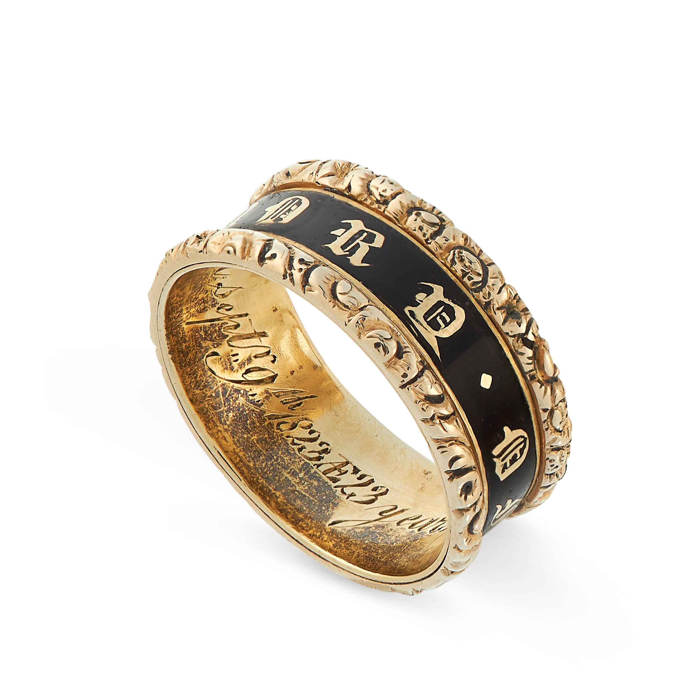ANTIQUE ENAMEL MOURNING RING, CIRCA 1823 inscribed 'IN MEMORY OF' in black enamel, inscribed - Image 2 of 2
