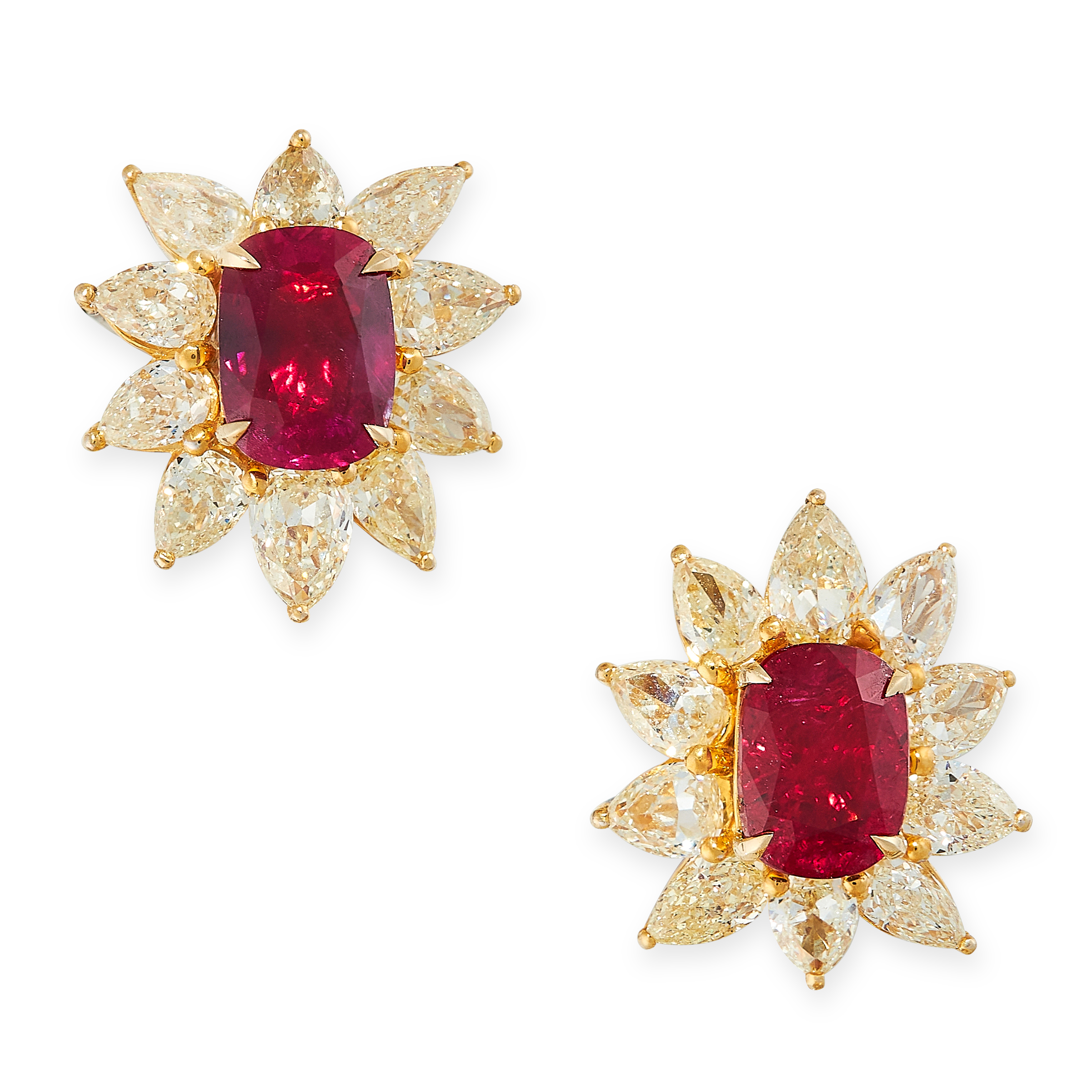PAIR OF UNHEATED RUBY AND DIAMOND EARRINGS each set with a cushion cut ruby of 1.50 carats, - Image 2 of 2