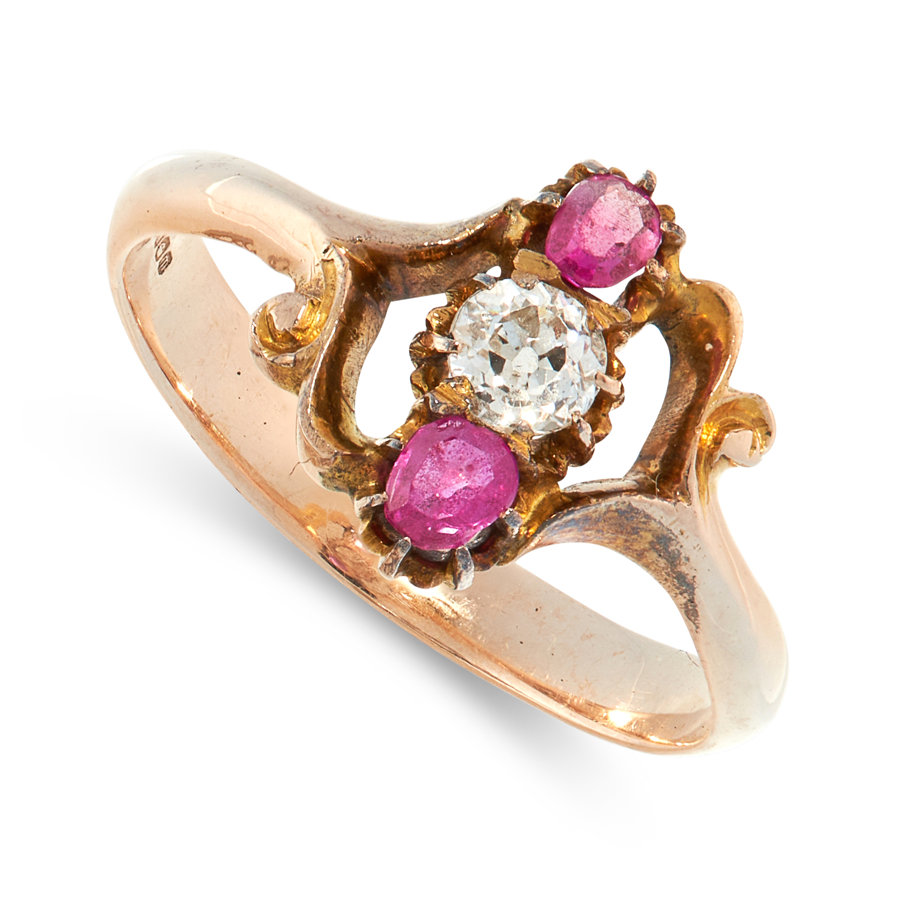 MIXED LOT OF TWO RINGS including an antique ruby and diamond ring, set with an old cut diamond