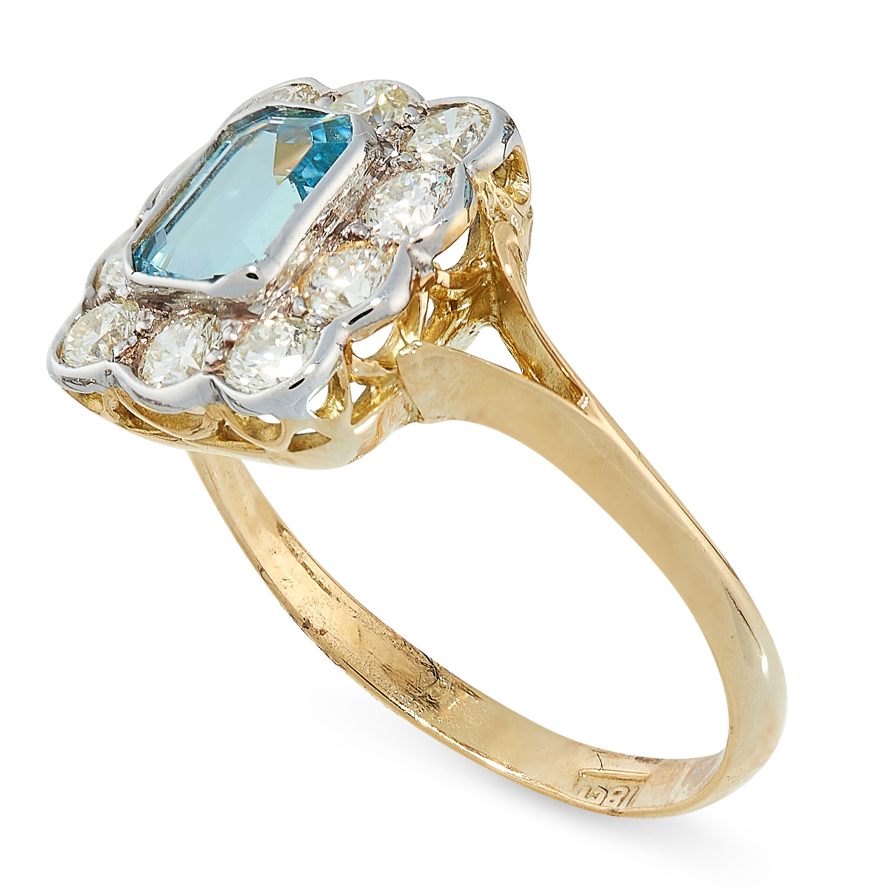 AQUAMARINE AND DIAMOND RING in cluster design, set with an emerald cut aquamarine in a border of - Image 2 of 2